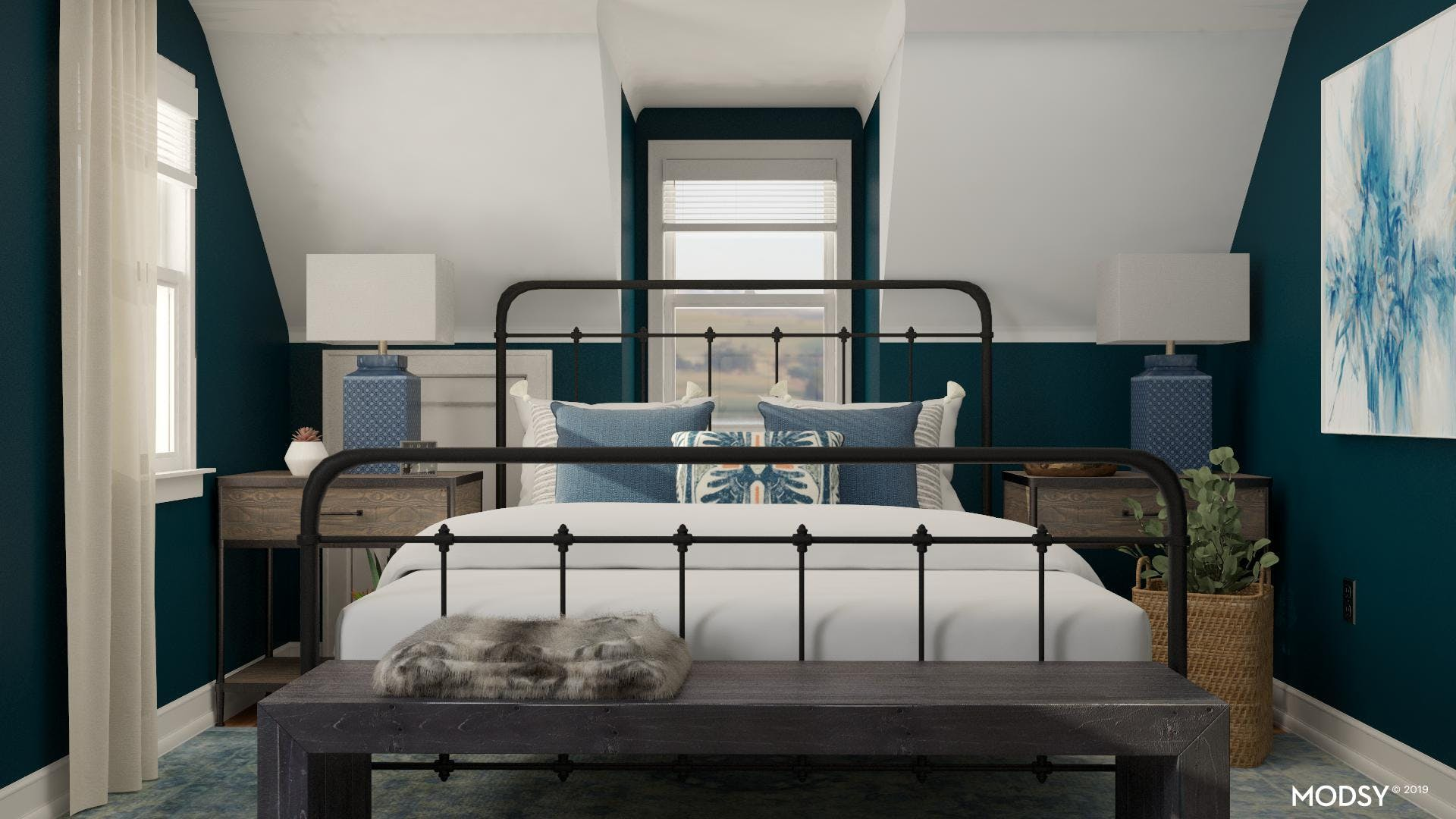 Industrial Blue Bedroom Design