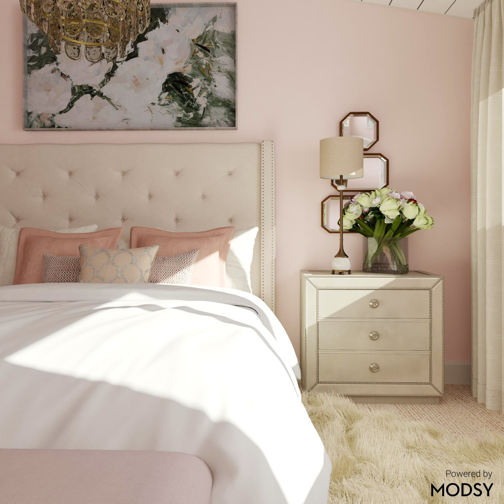 Soft Glam Bedroom in Pink