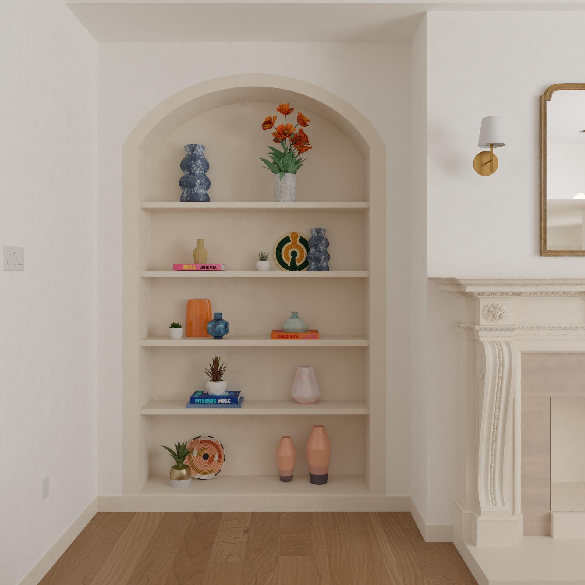 Shelves With Colorful Accents