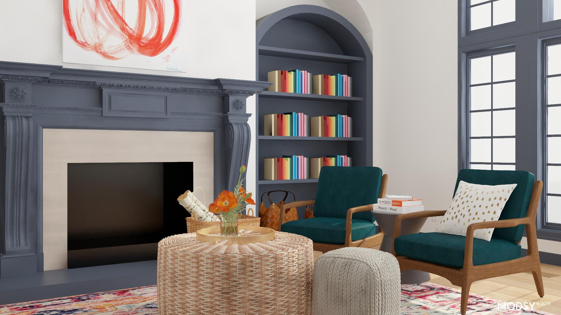 Modern Living Room With Bright Multi Color