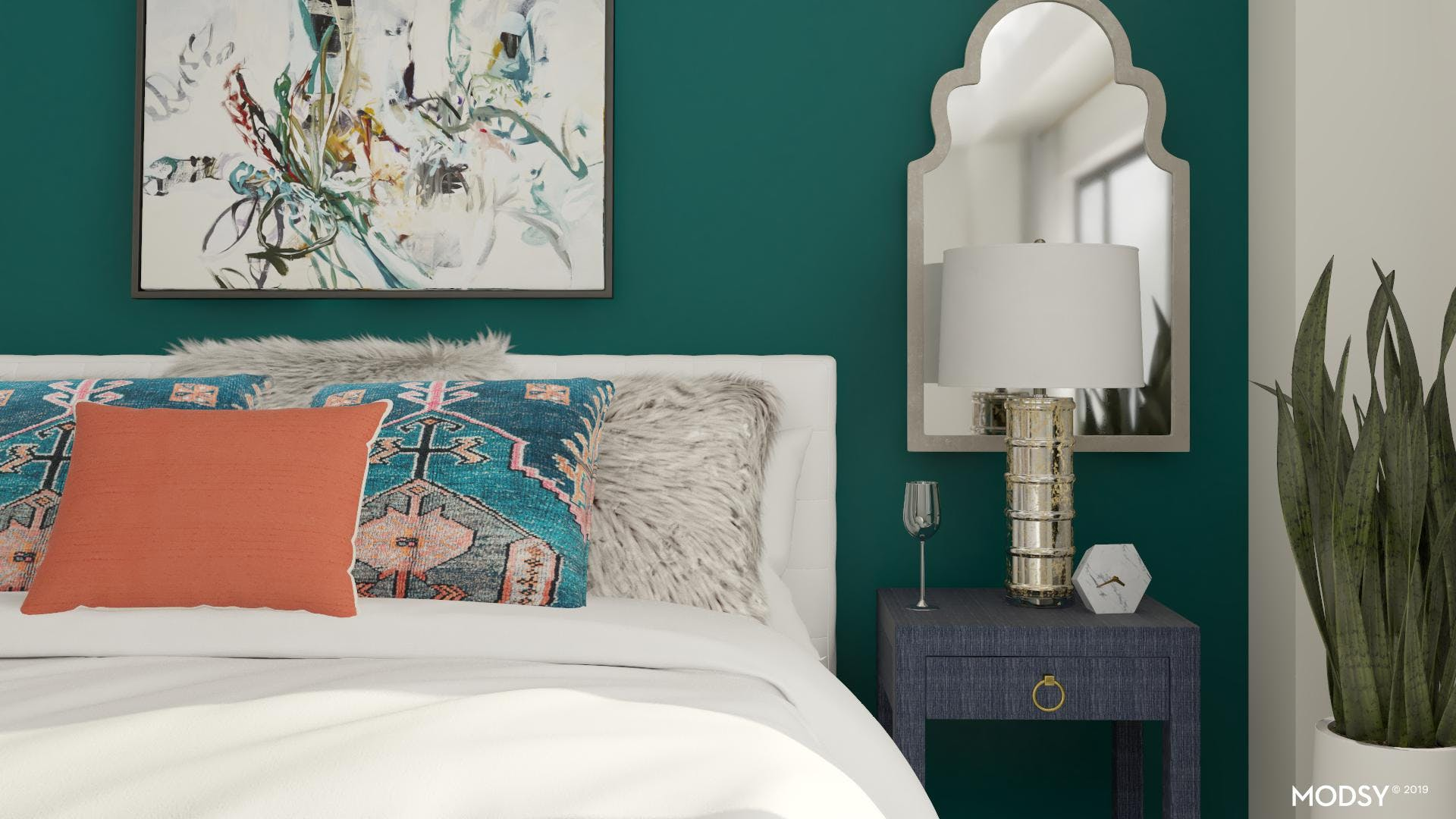 Textures and Bold Colors in the Bedroom
