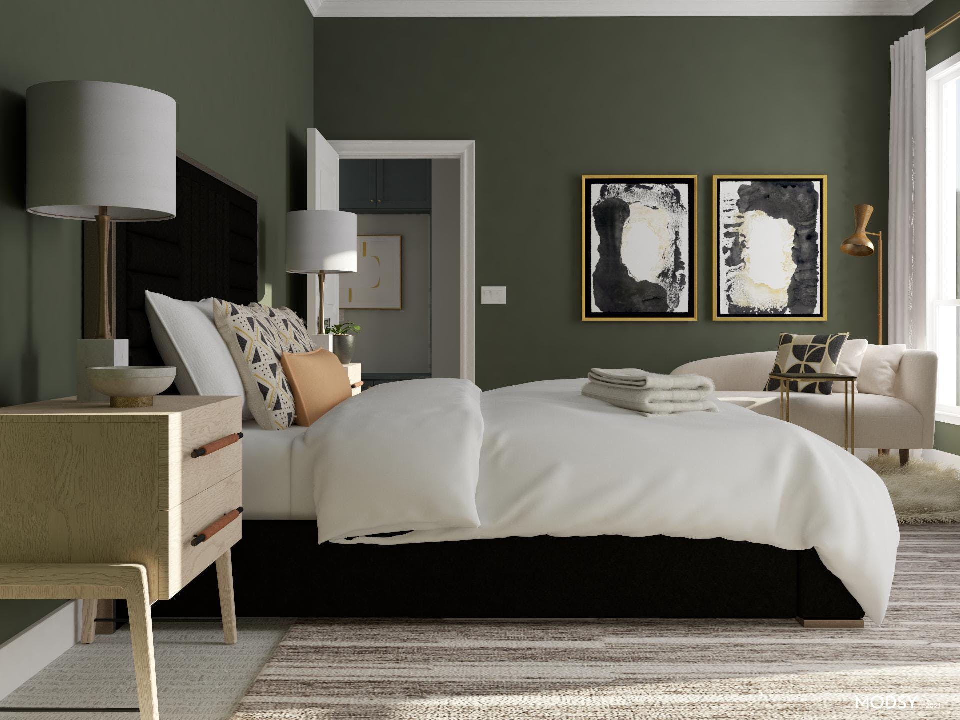 Green And Glam Bedroom