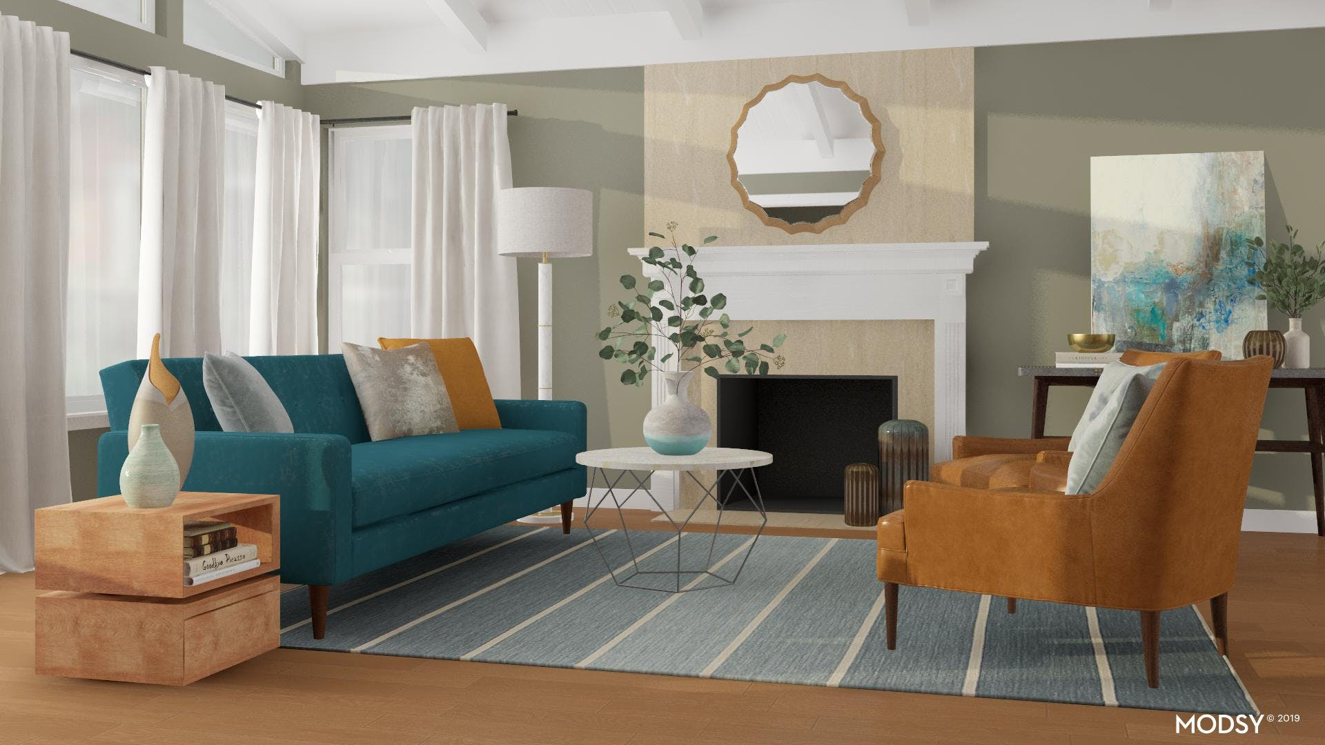 Transitional and Blue: A Modern Living Room