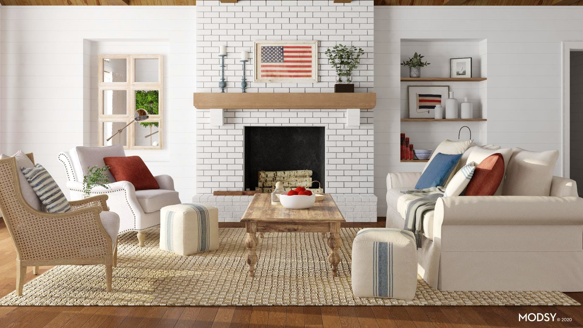 Stately Americana  Inspired Living Room With Coastal Flair