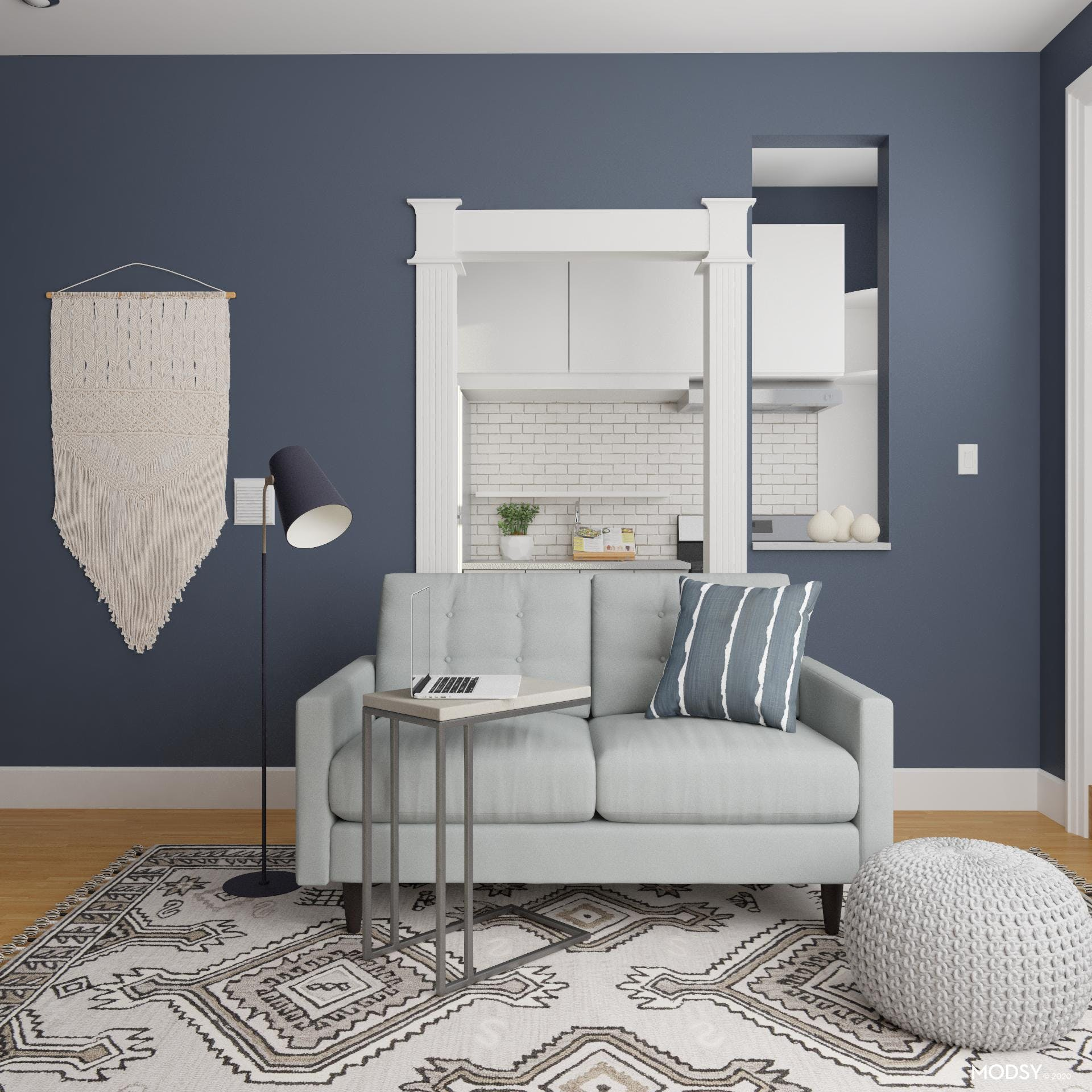 Eclectic and Contemporary Seating Space in Blue and Gray