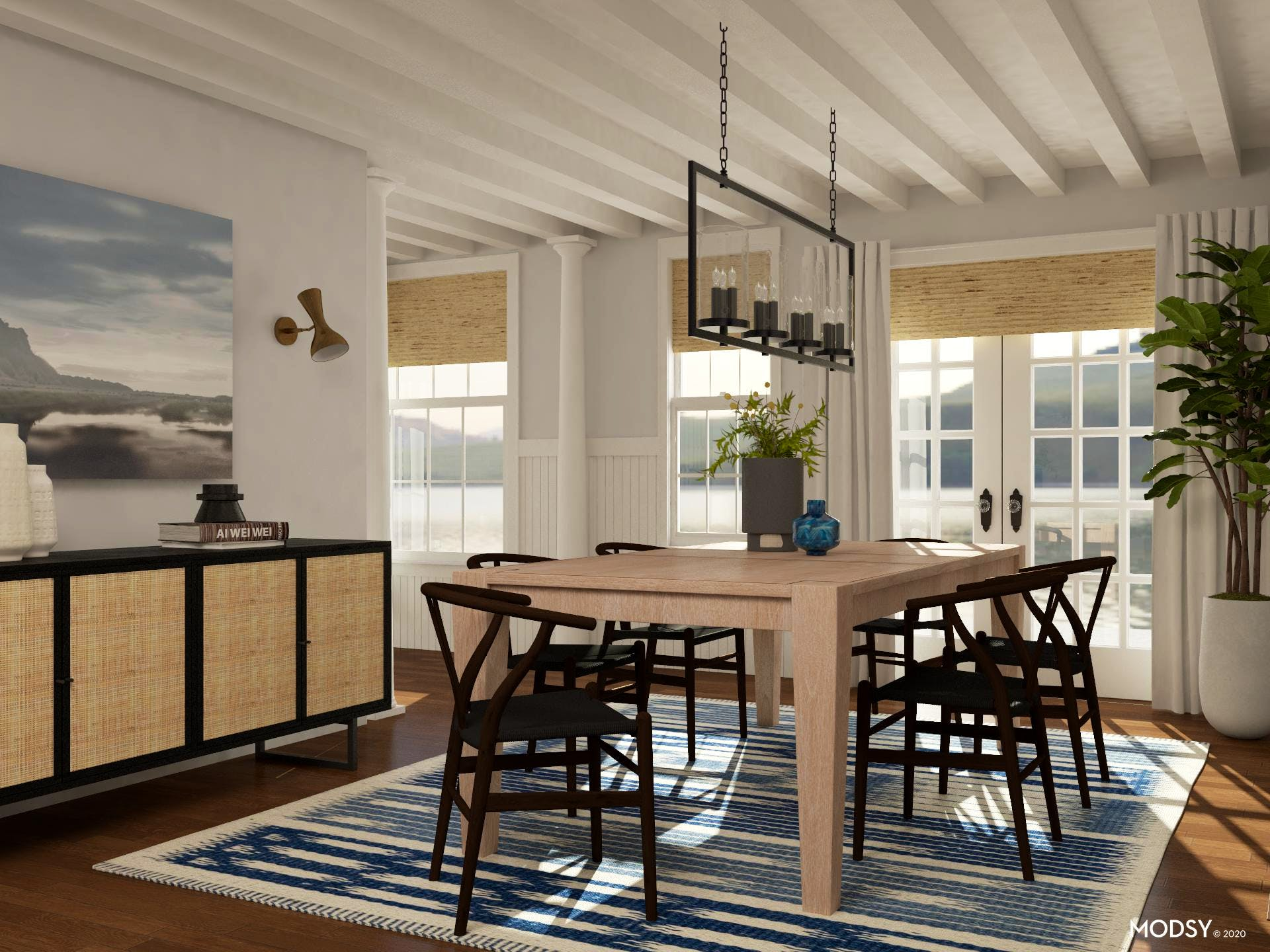 Mid-Century-Modern Dining Room in Classic Blue and Neutral Color Scheme