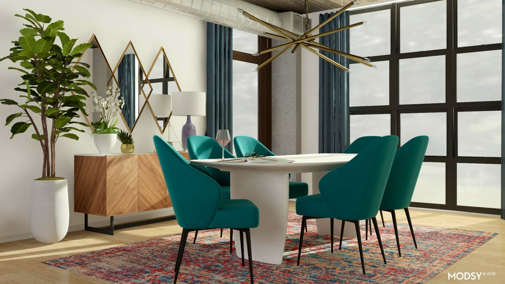 Mid-Century Dining With Jewel Tone Flair