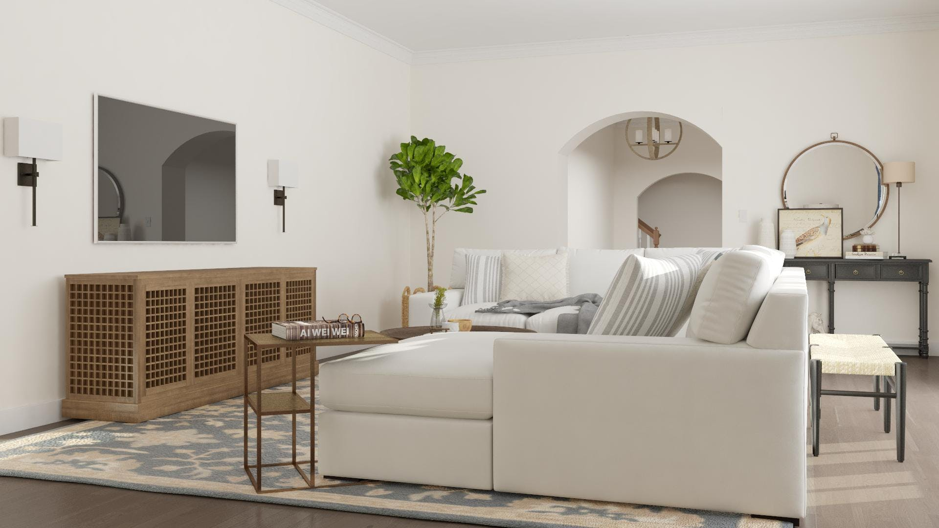 Transitional Style for Large Communal TV Viewing