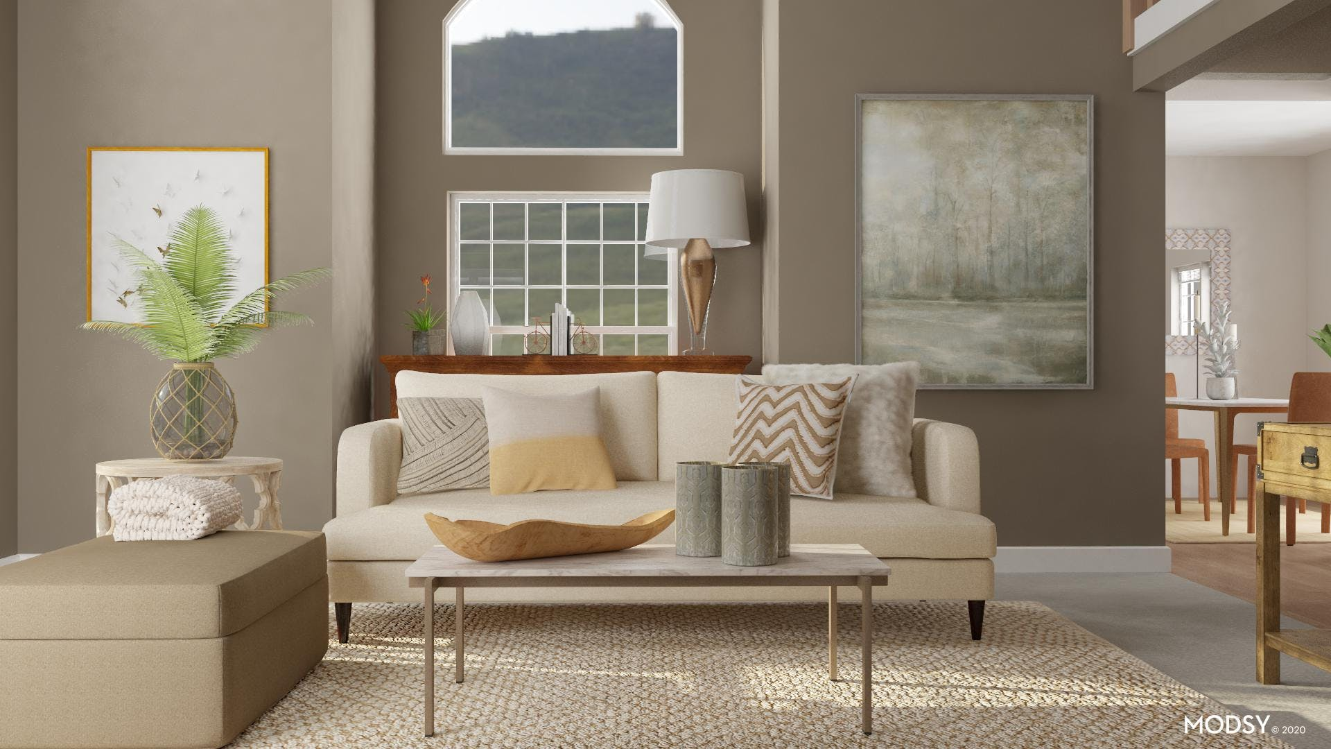 Transitional Living Room in Earth Tones