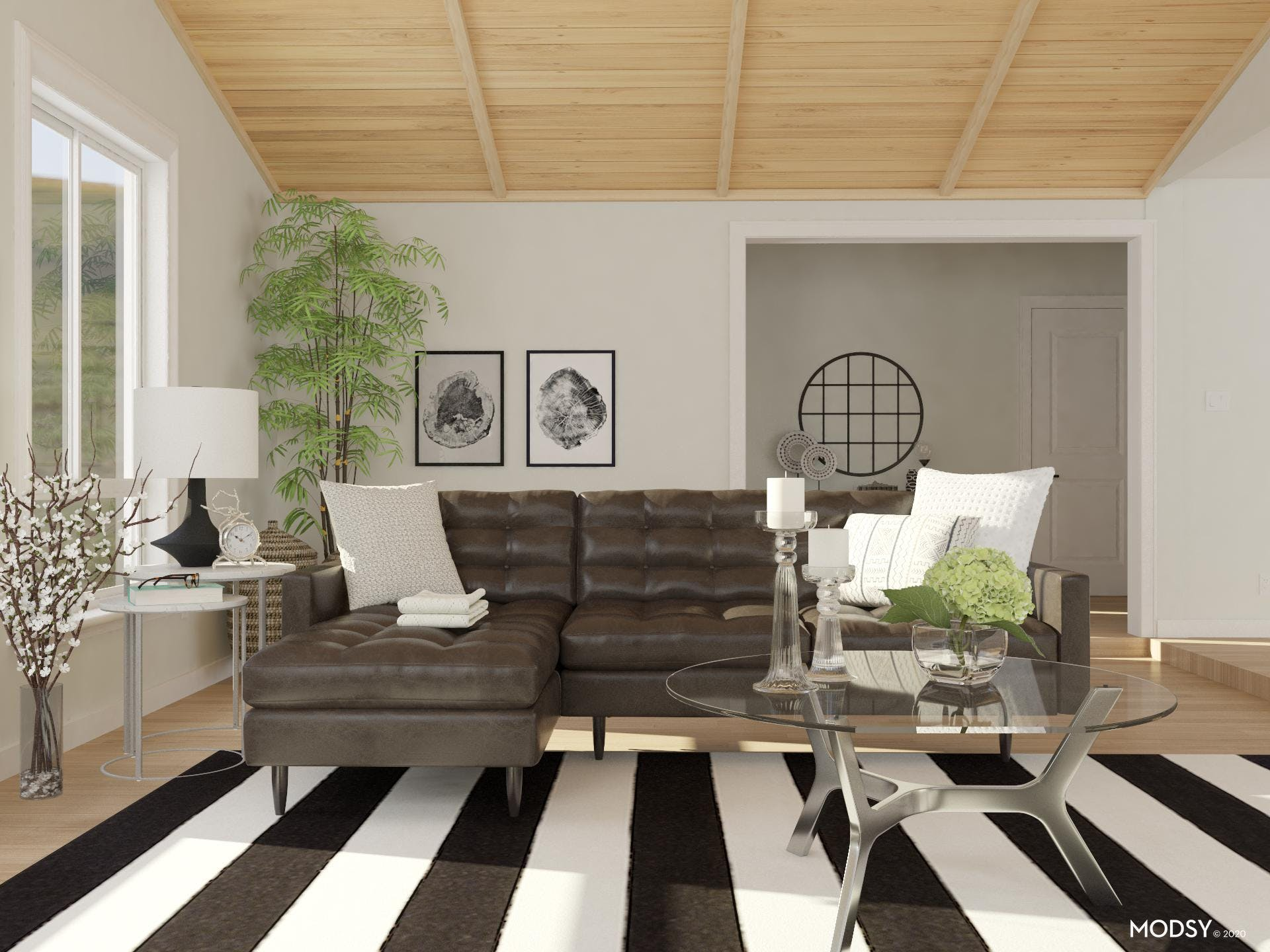 Black and White Mid-Century Living Room