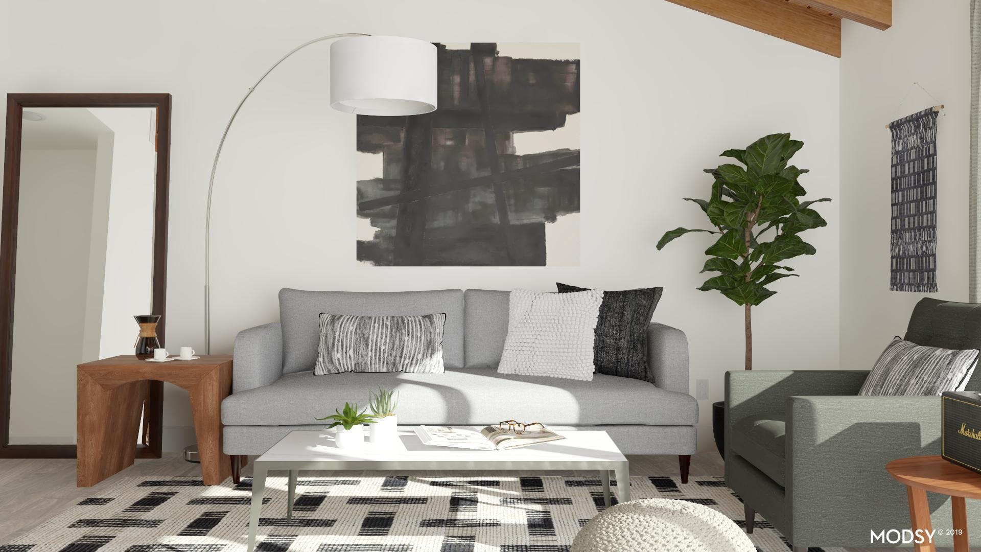 Modern Living Room with Black and White Appeal