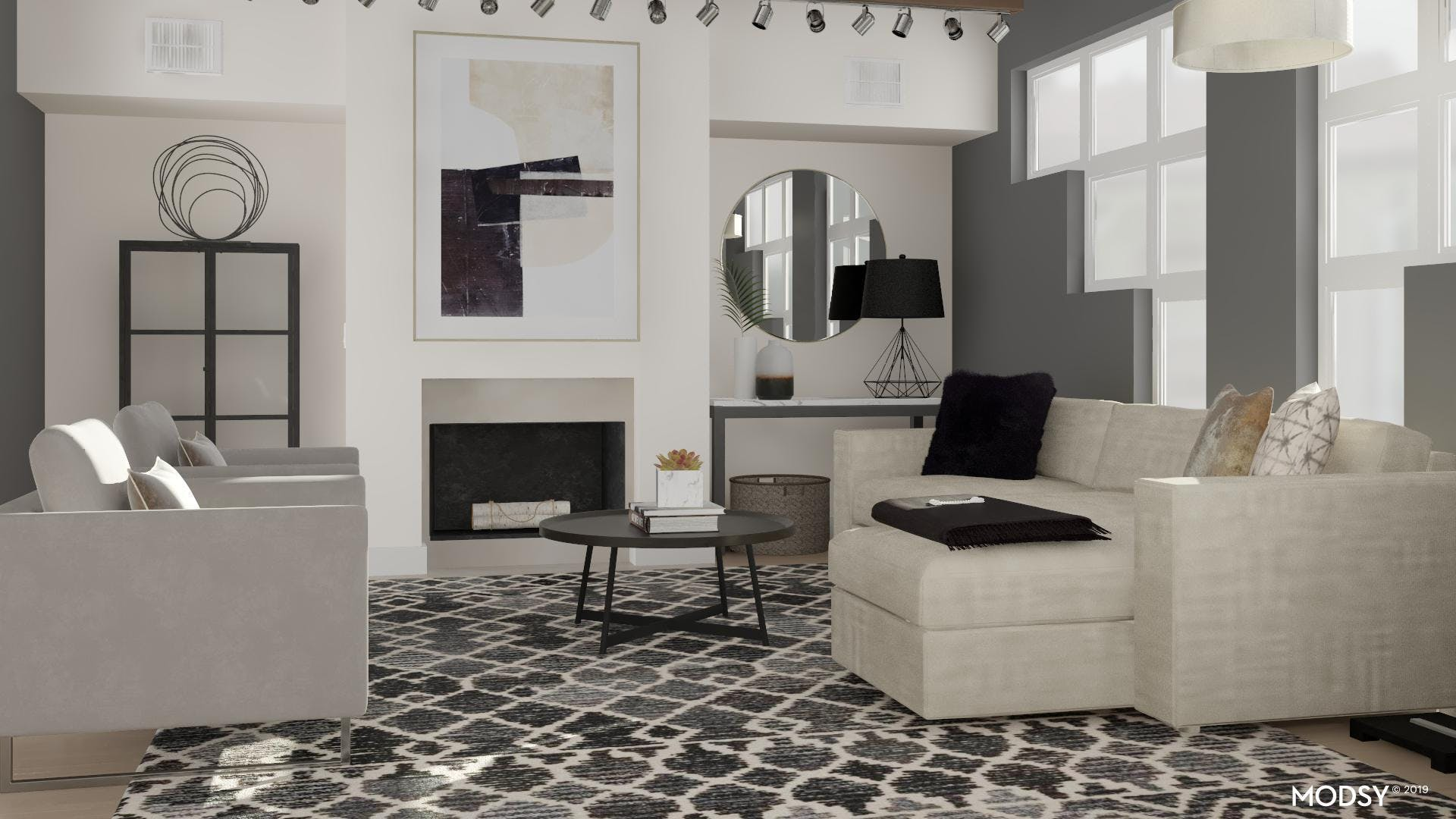 Bold Modern Neutral Living Room With Texture