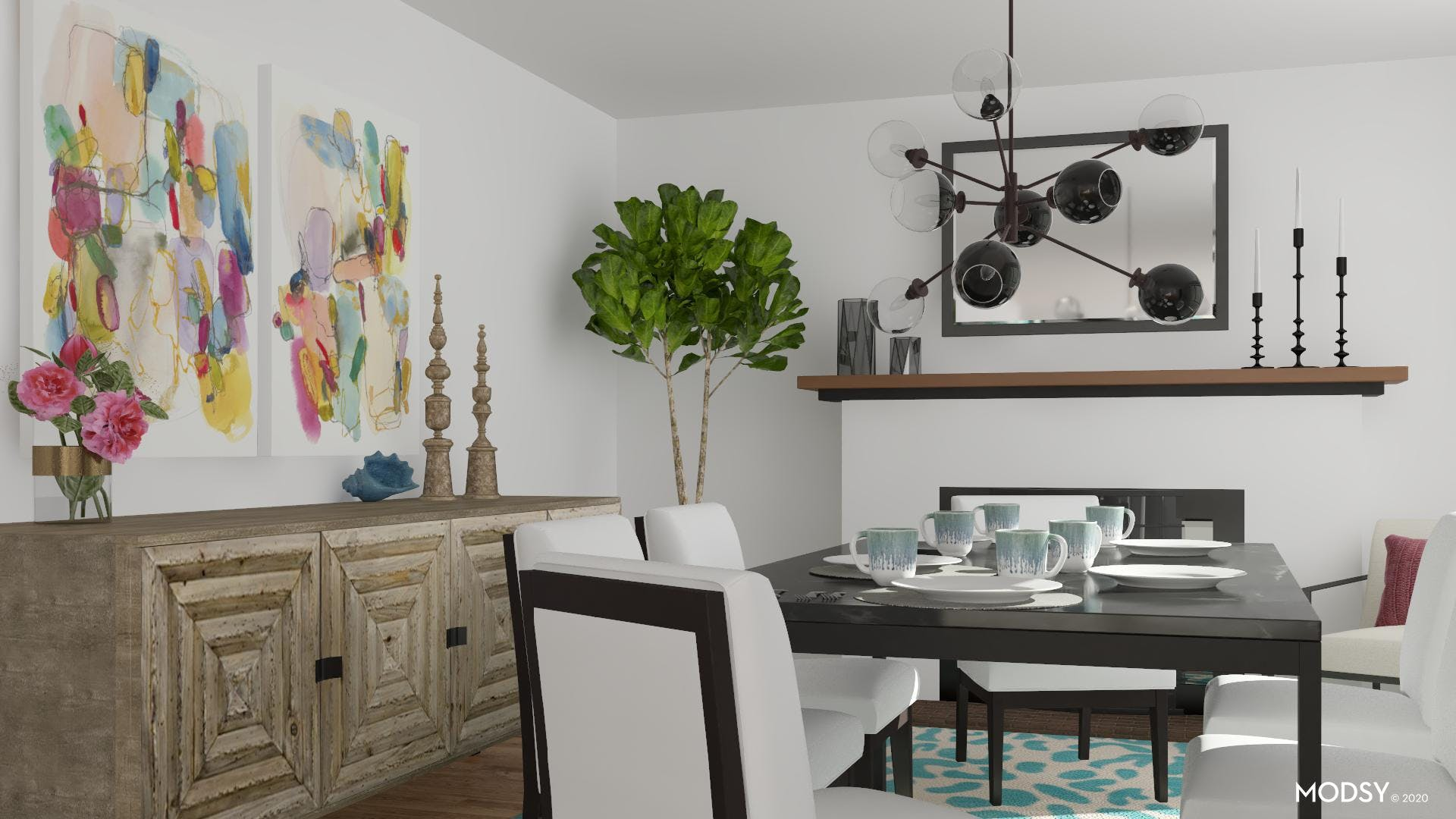 Contemporary Bright Colored Dining