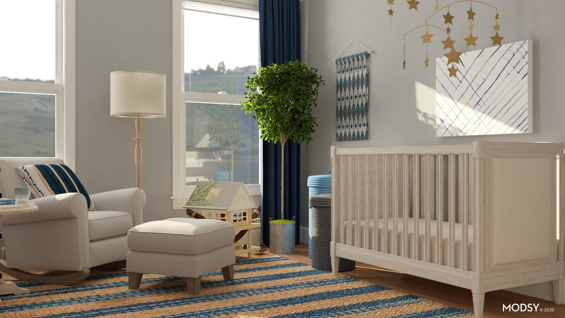 Calming Blue Rustic Nursery