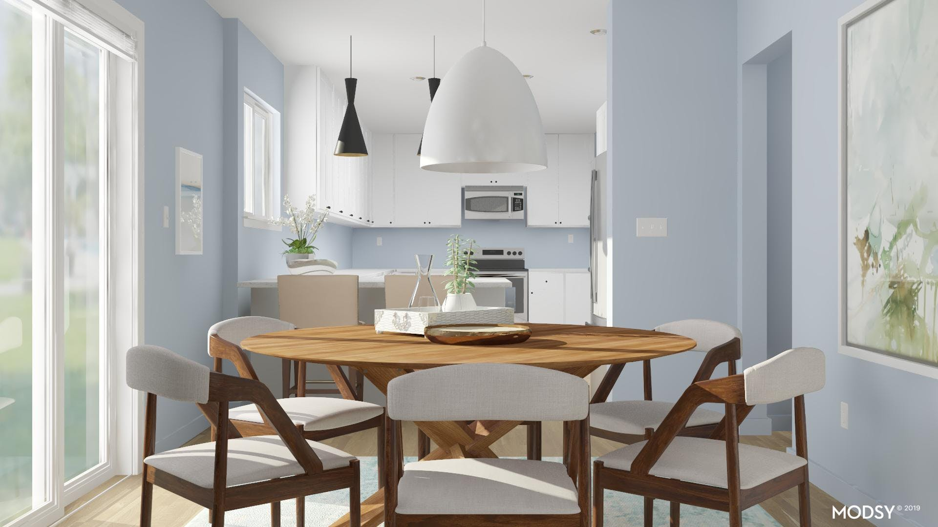 Pastel Colors In A Dining Room