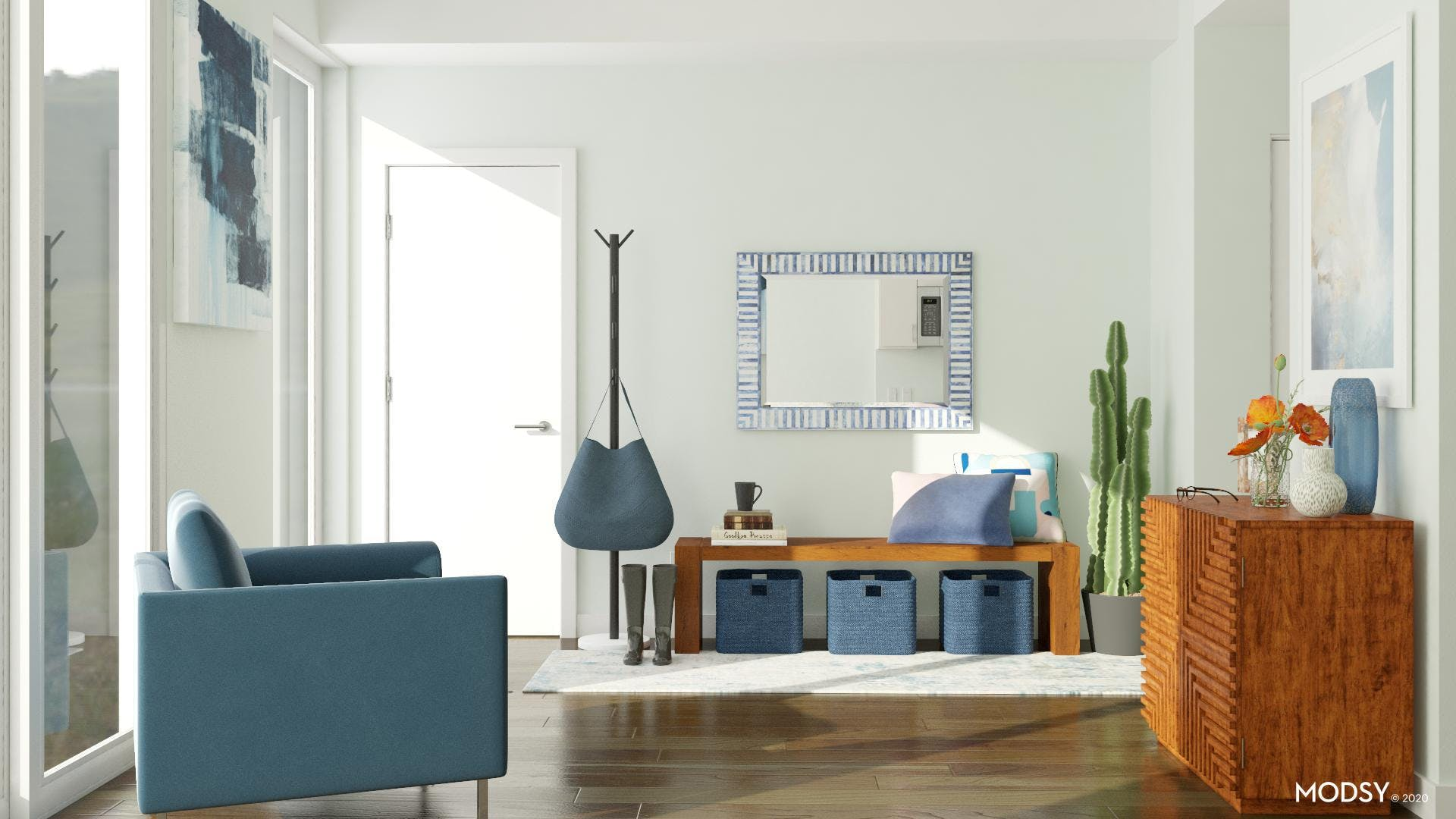 Home Entrance In Modern Blues