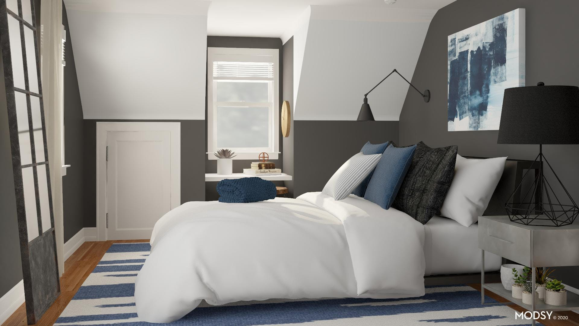 Blue Industrial Bedroom