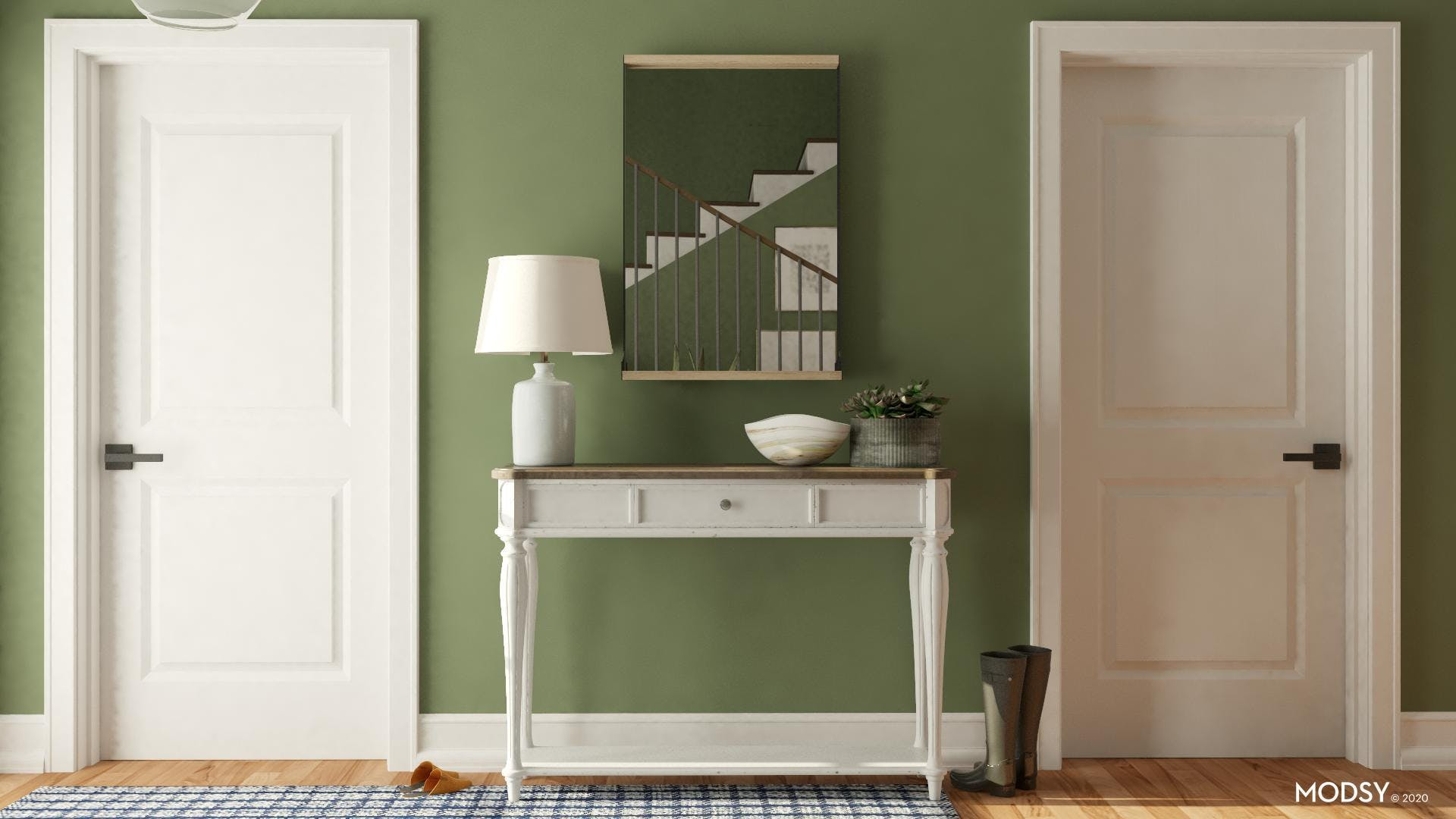 Mirrors and Storage in Rustic Entry