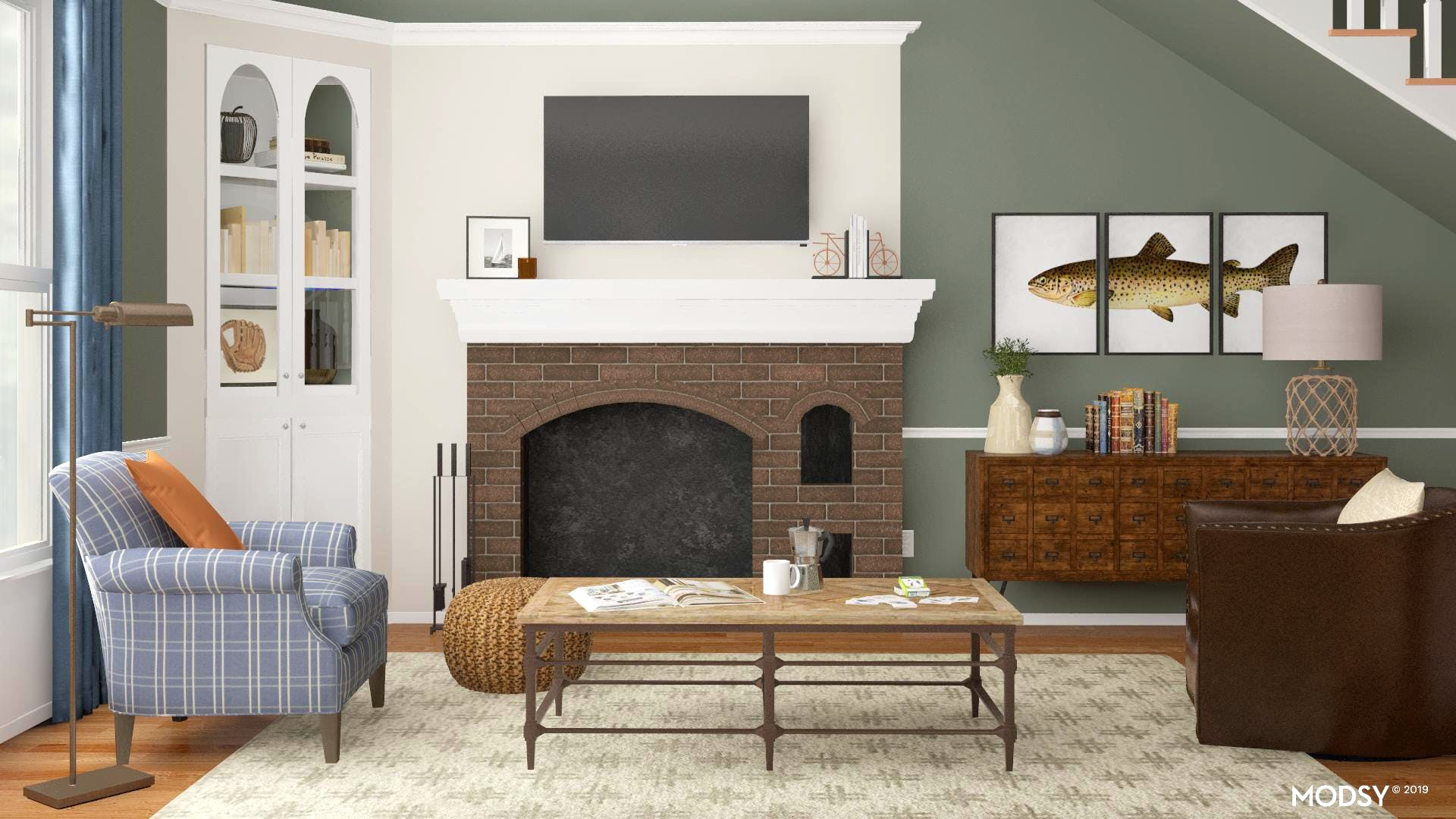A Cozy and Traditional Style Living Room