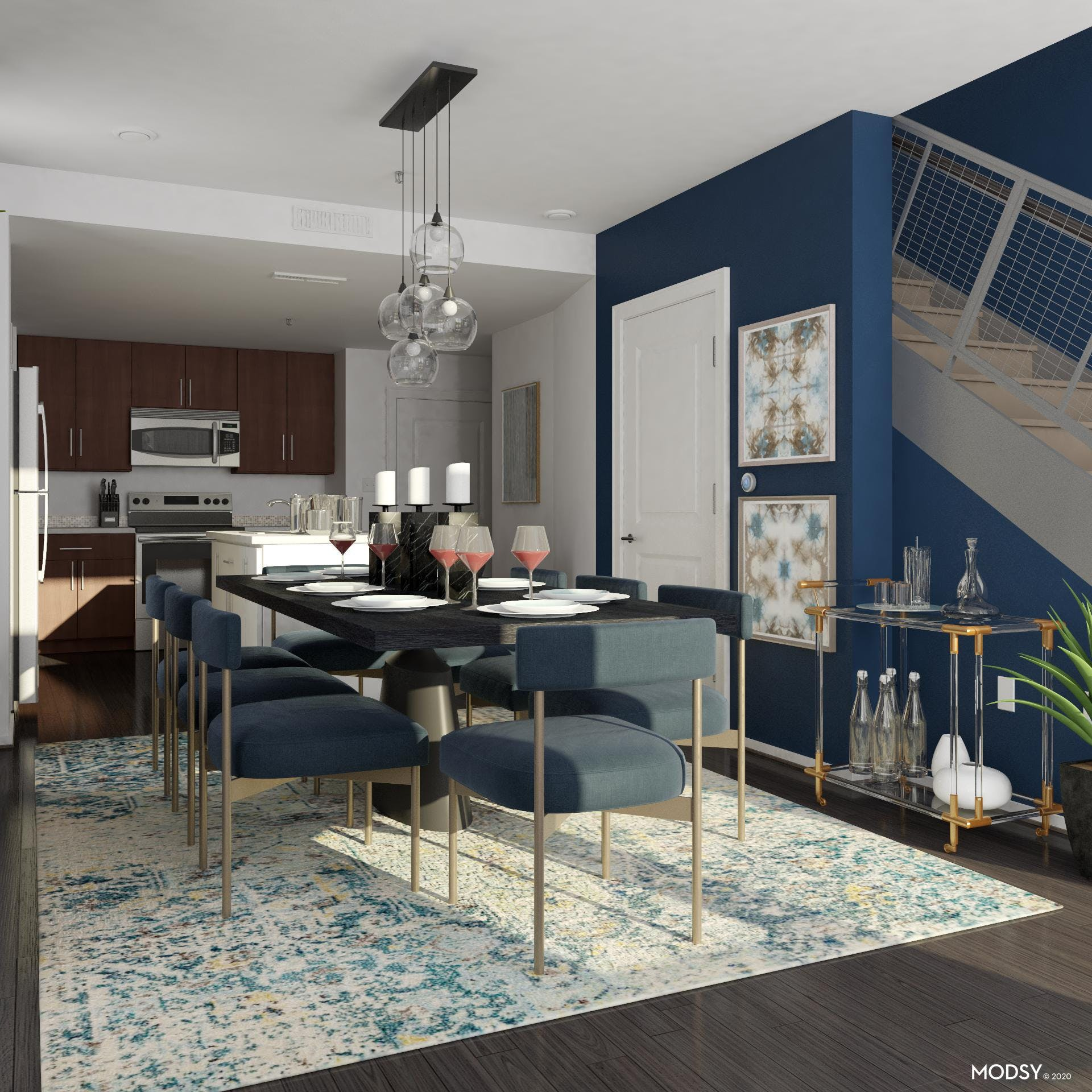 Warm, Blue, Modern Dining Room