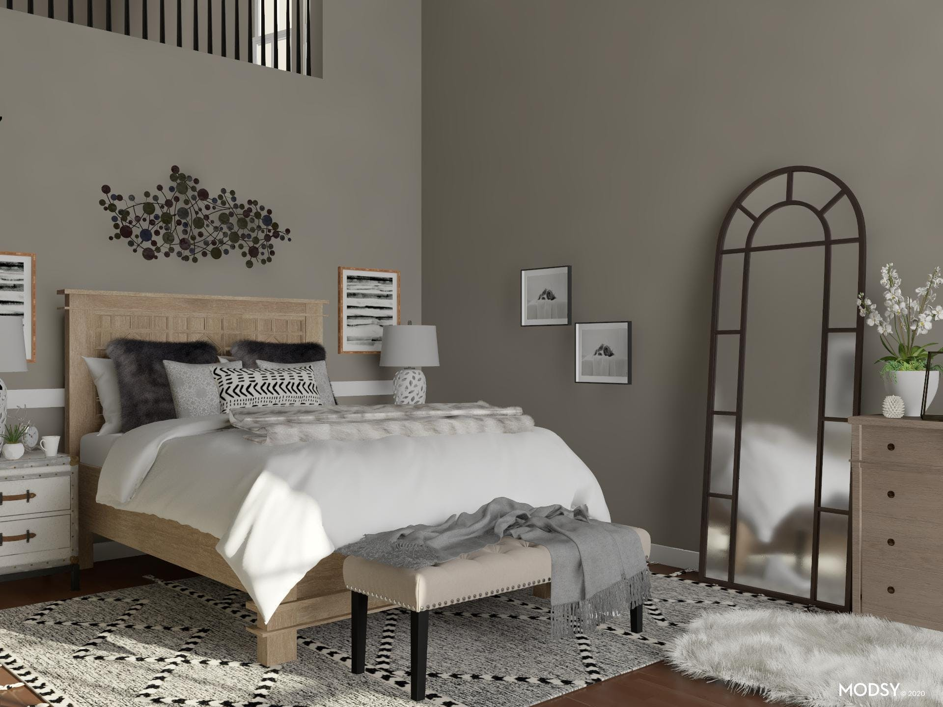 Black And White Rustic Guest Room