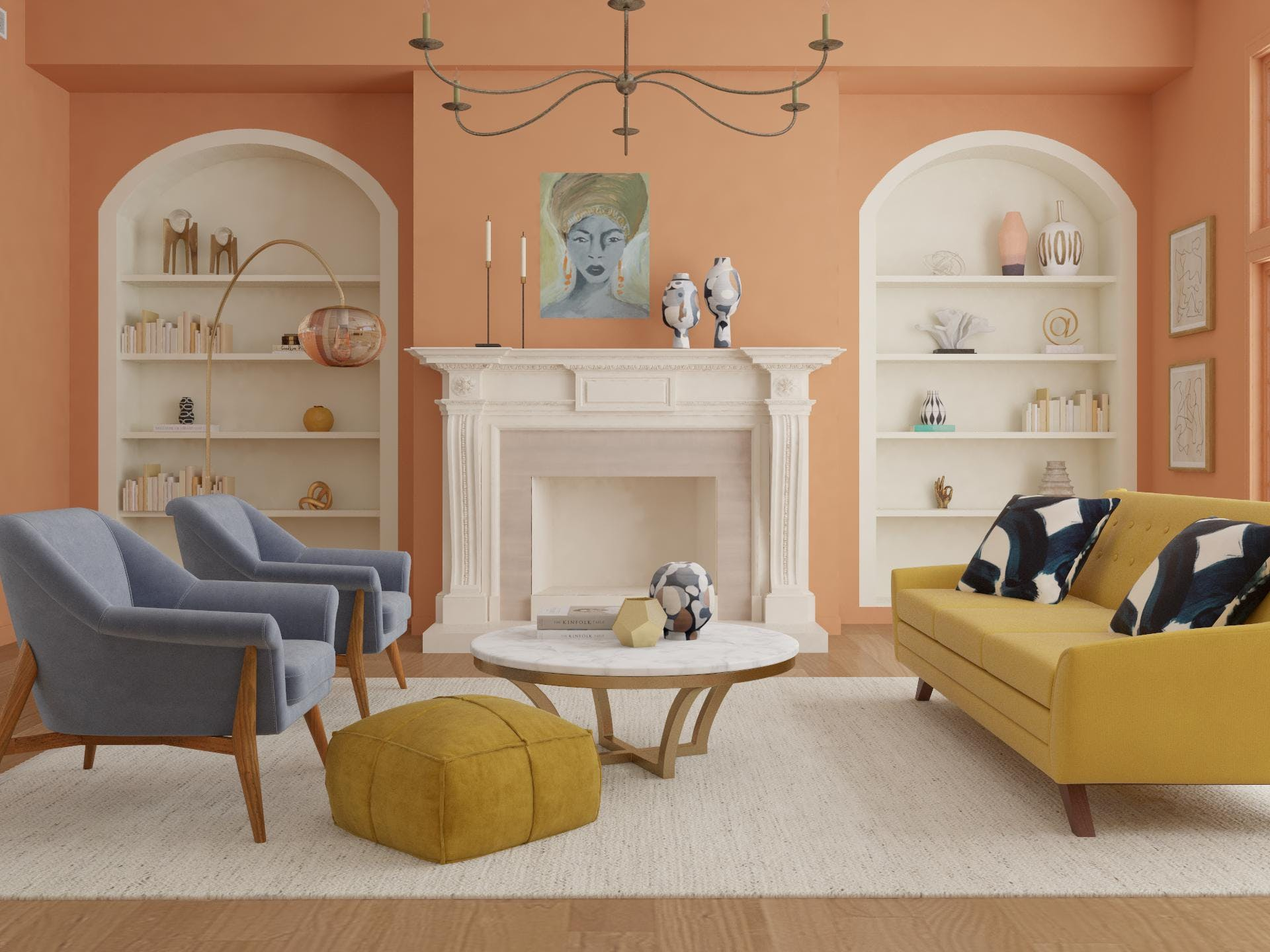 Sherbert Colors in a Refined Mid-Century-Modern Living Room