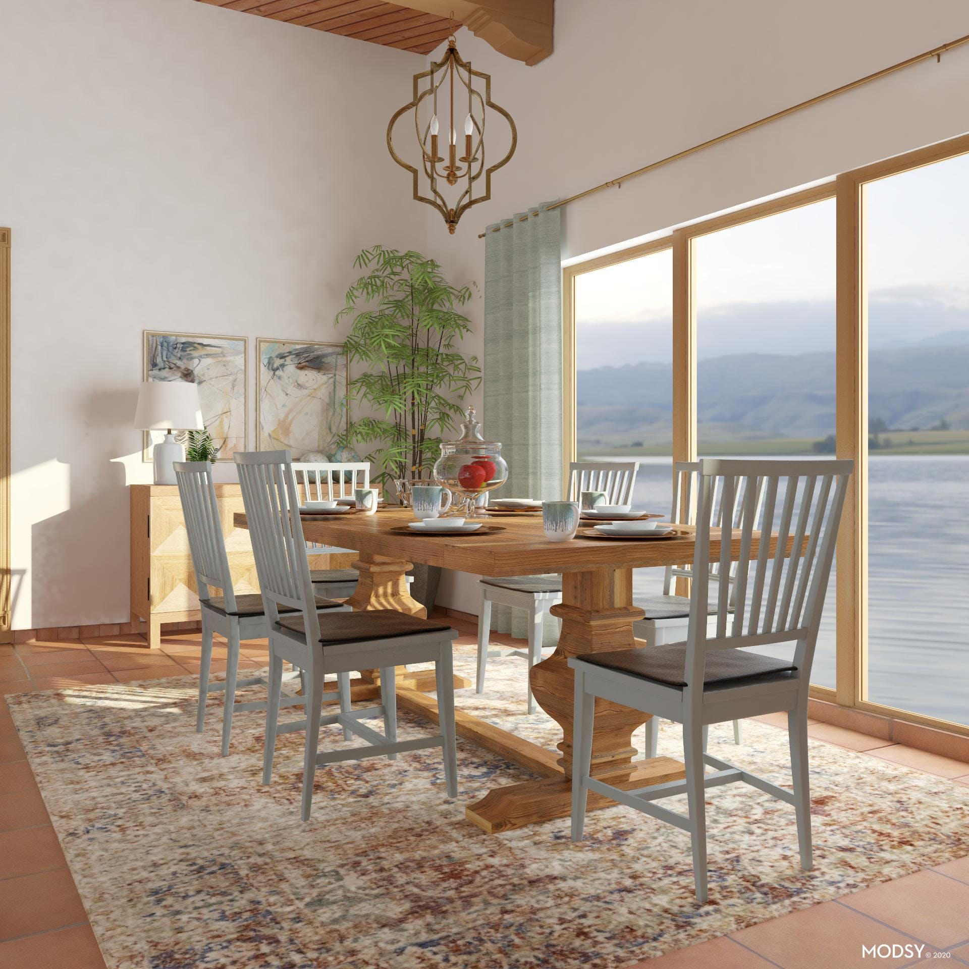 Pastel Themed Dining Room: Pet friendly