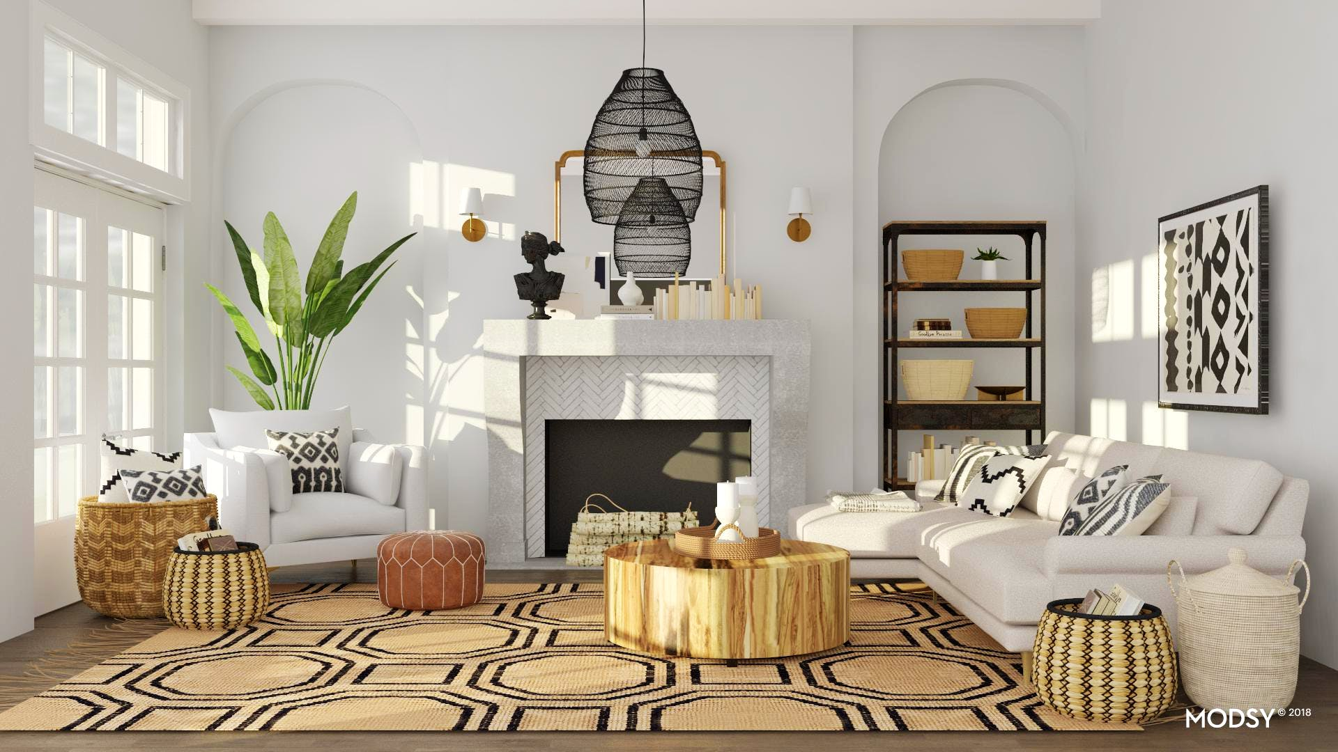 A Neutral Living Room Filled With Natural Materials Modern Style Living Room Design Ideas