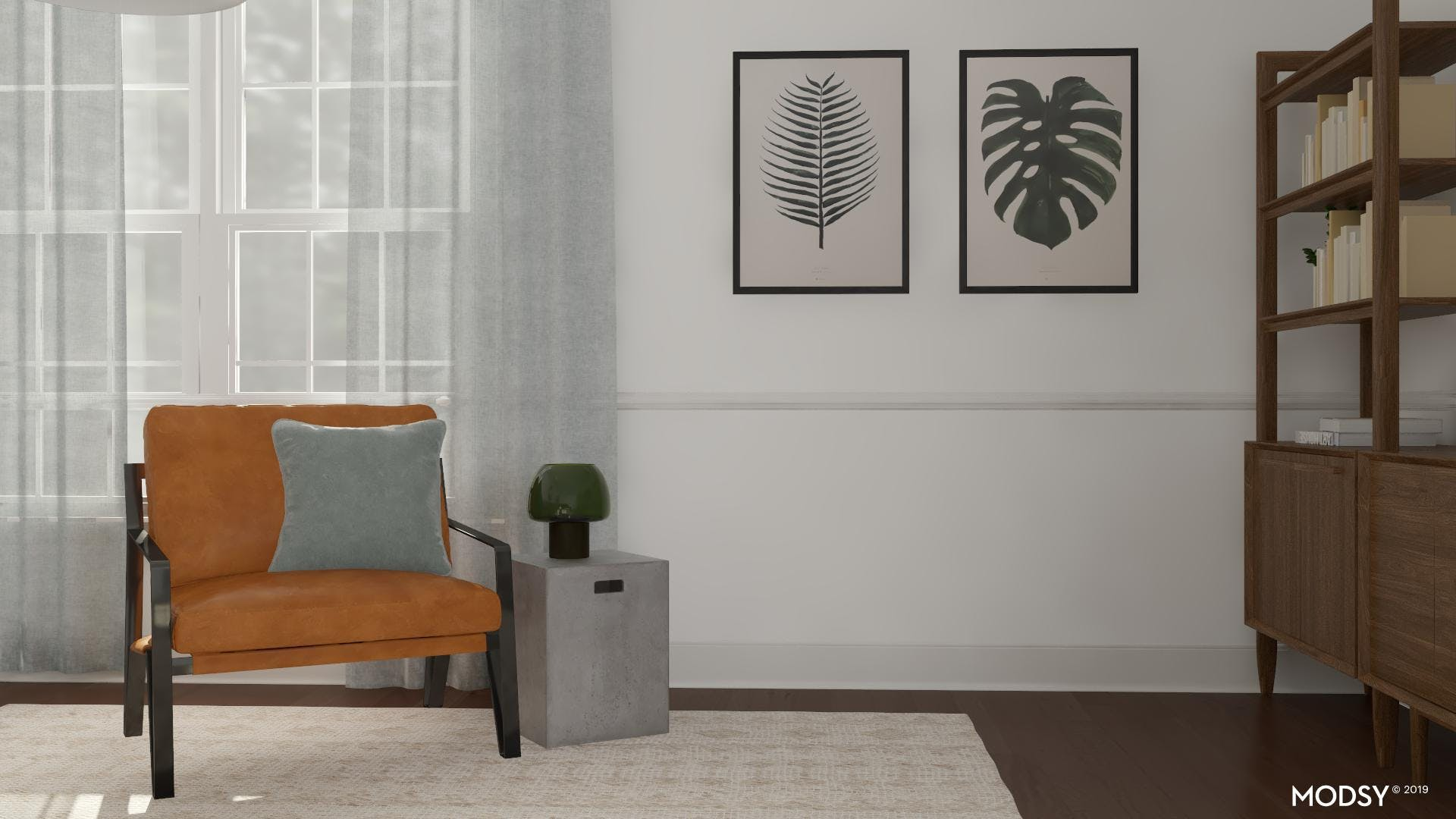 Modern Living Room With A Touch Of Green