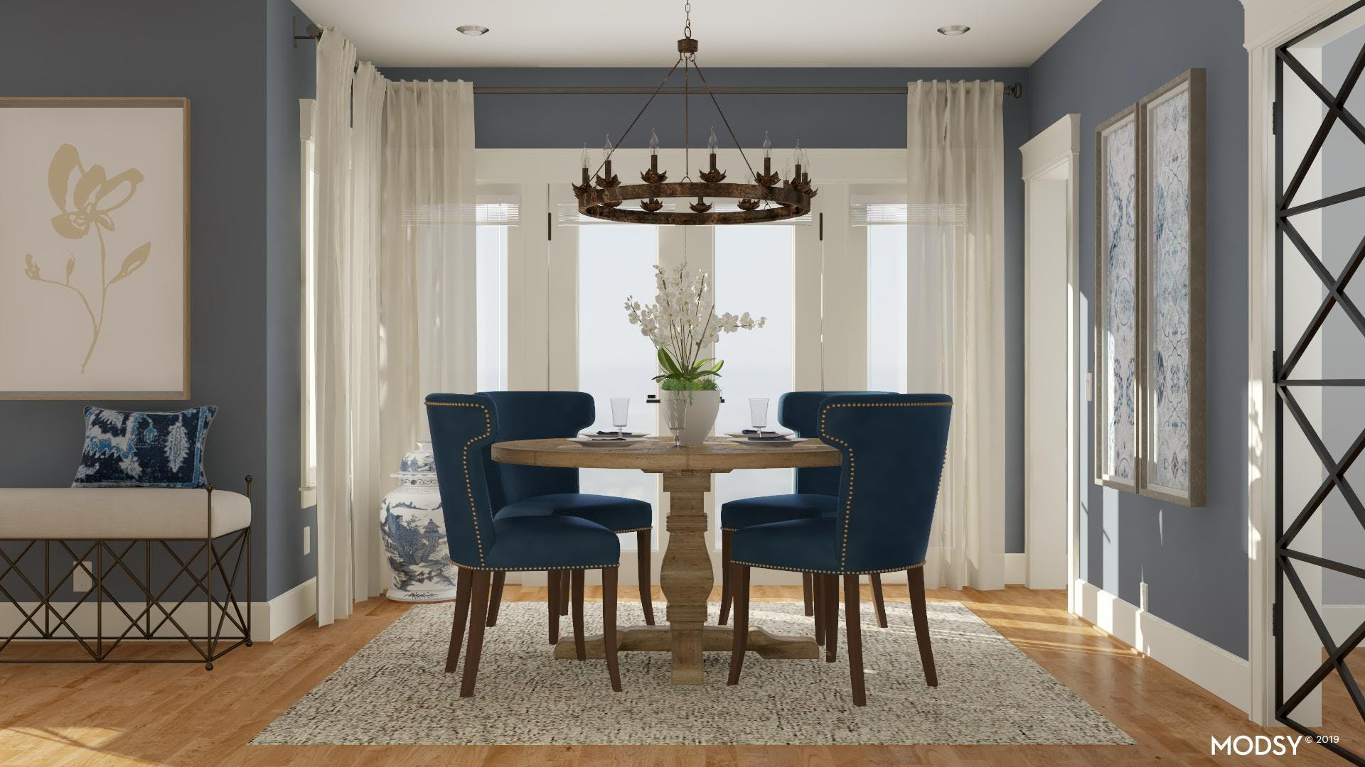 Traditional Blues: Classic Dining Room