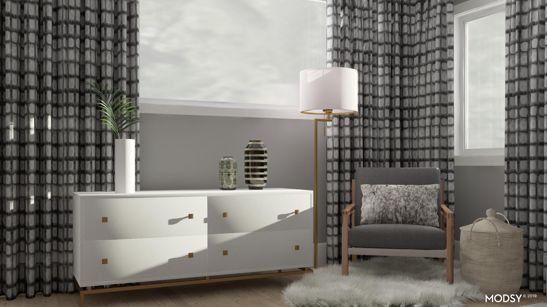 Black and White Contemporary Bedroom