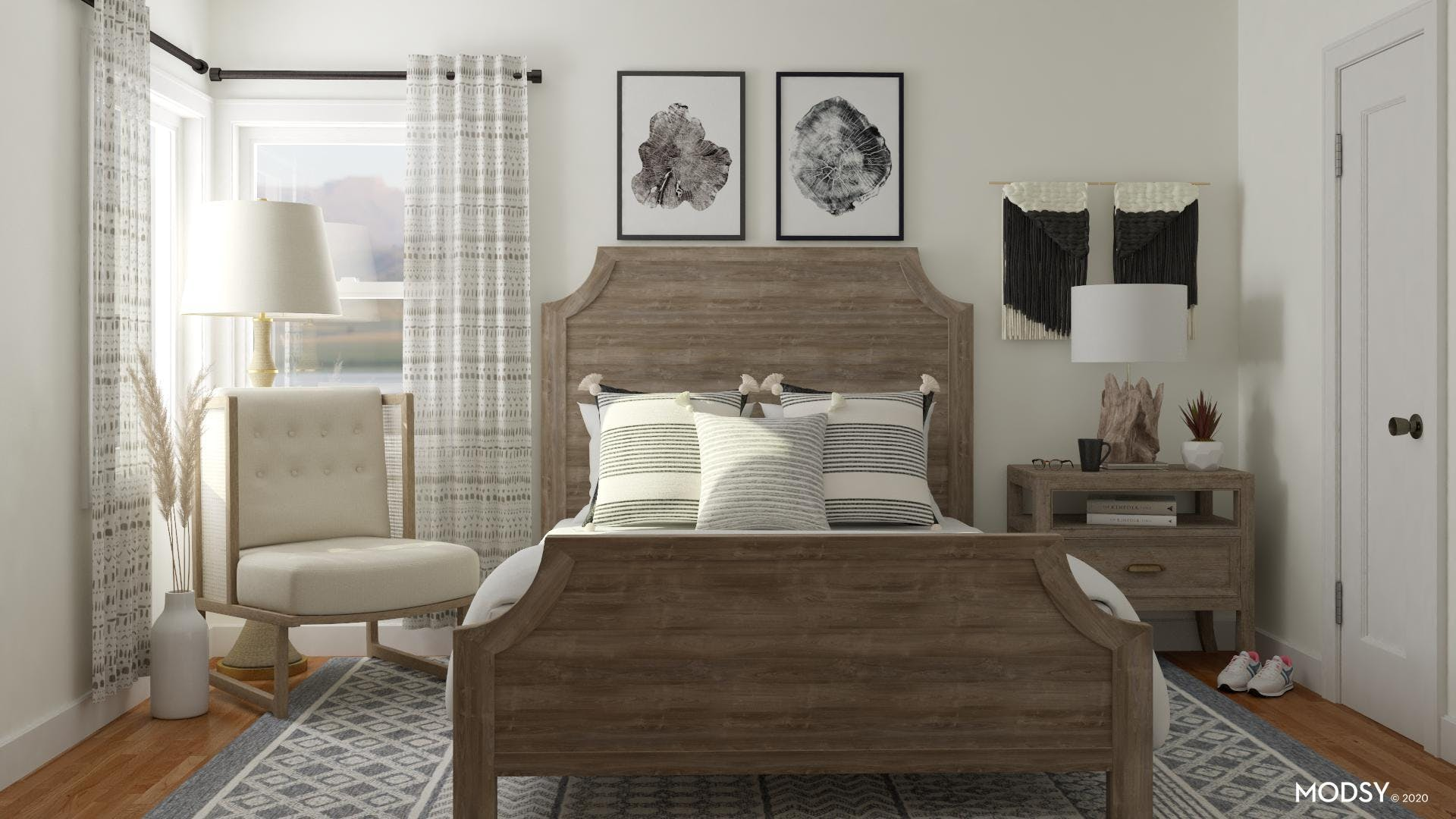 Rustic Beauty in Black and White Bedroom