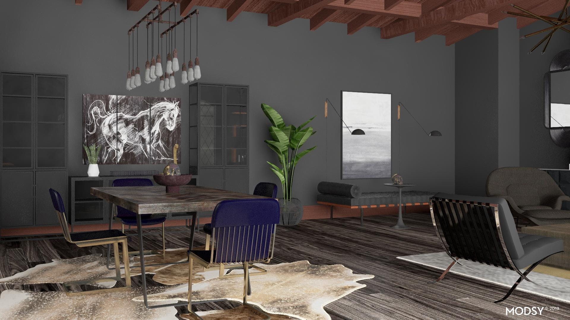 Moody Black and Blue Industrial Dining Room