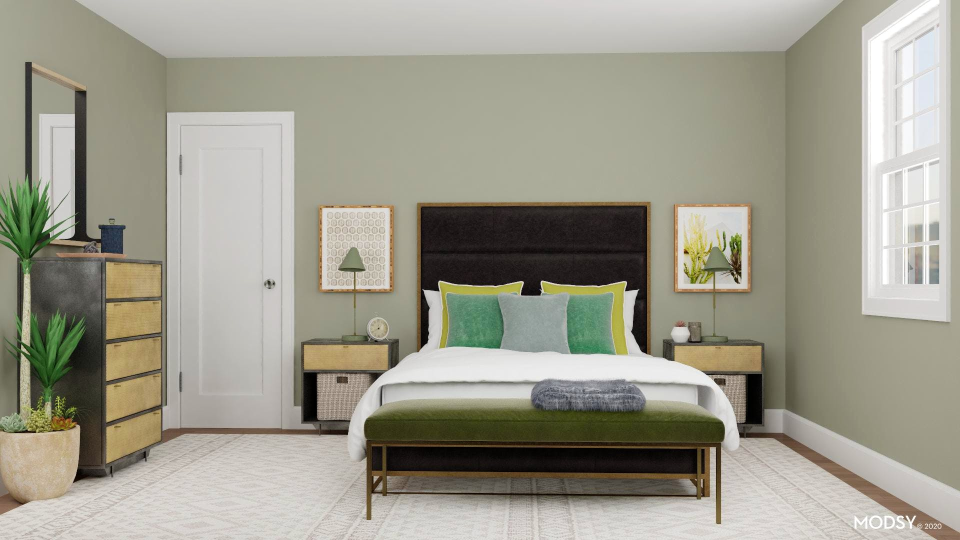 Minimal Meet Modern: Green Bedroom Oasis