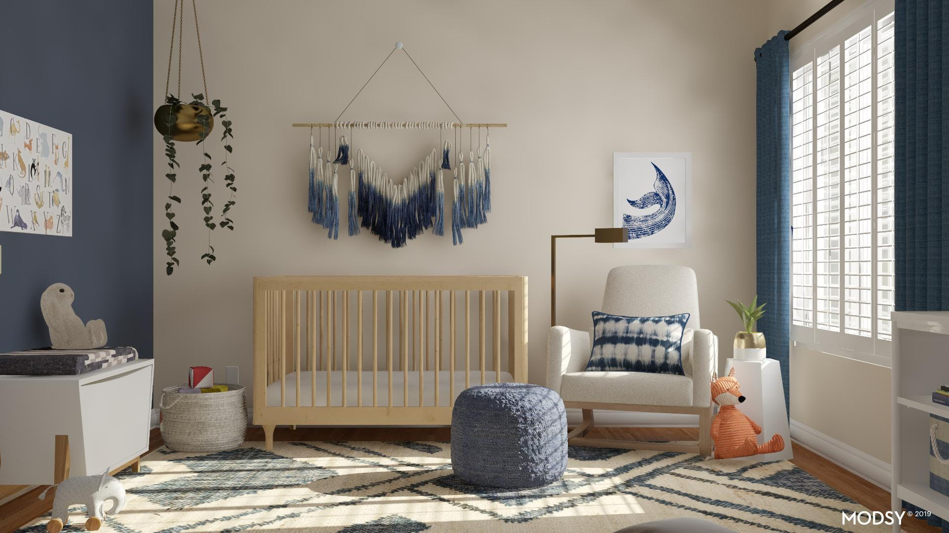 A Splash of Blue in a Mid-Century Nursery
