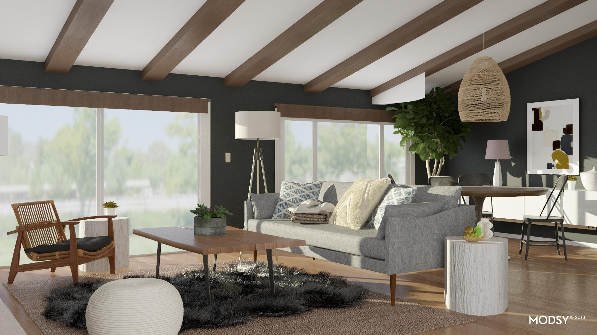 A Modern Living Room With Rustic Coastal Vibes