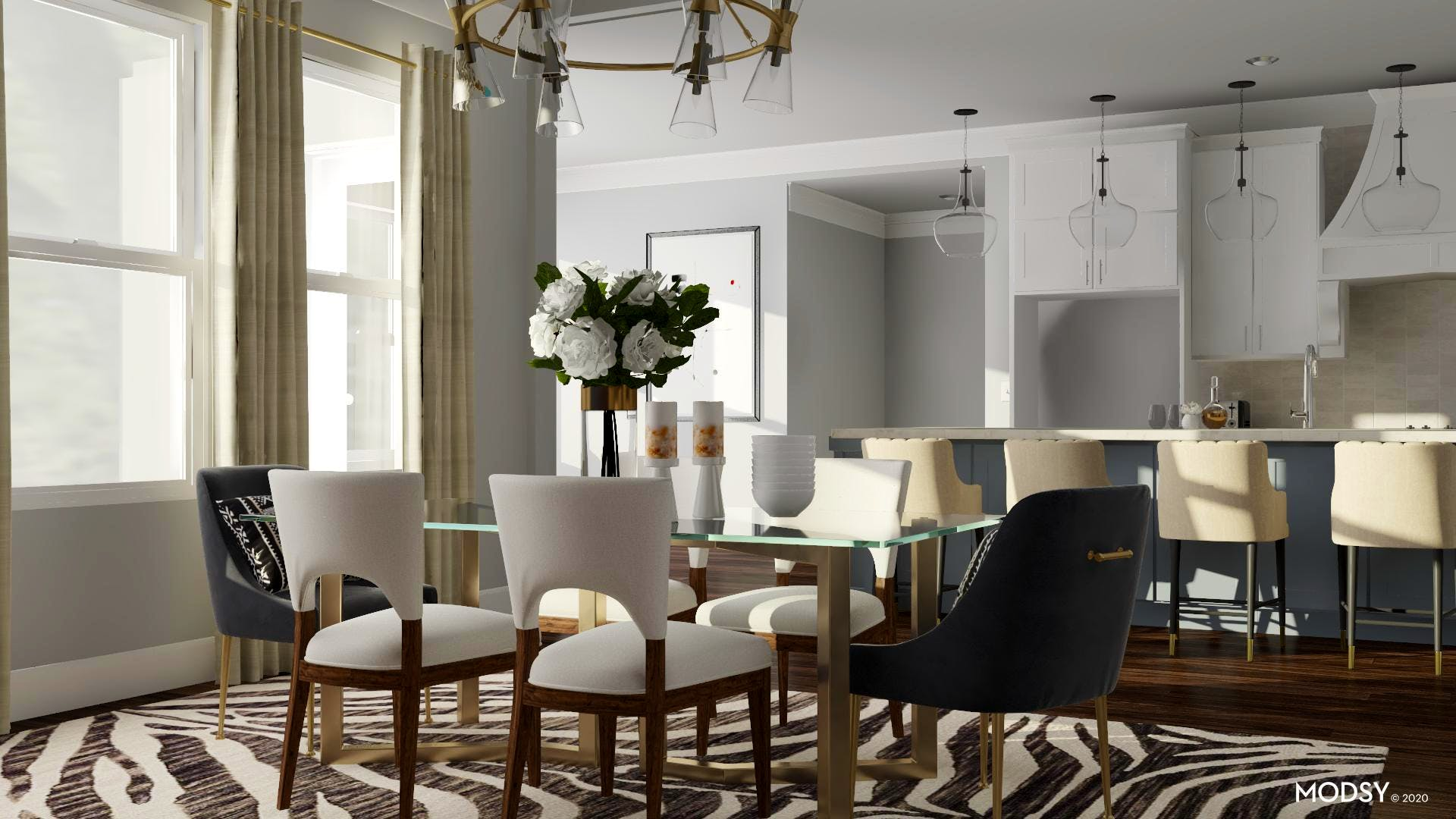 Bold and White Dining Room