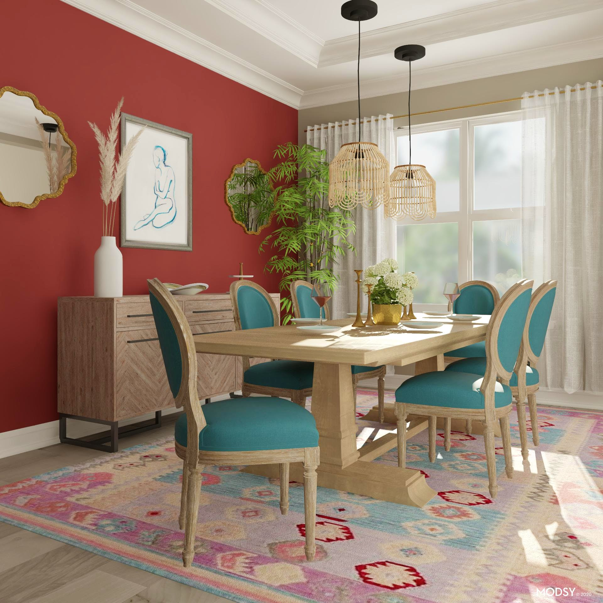 Multicolor Chic: Traditional Dining