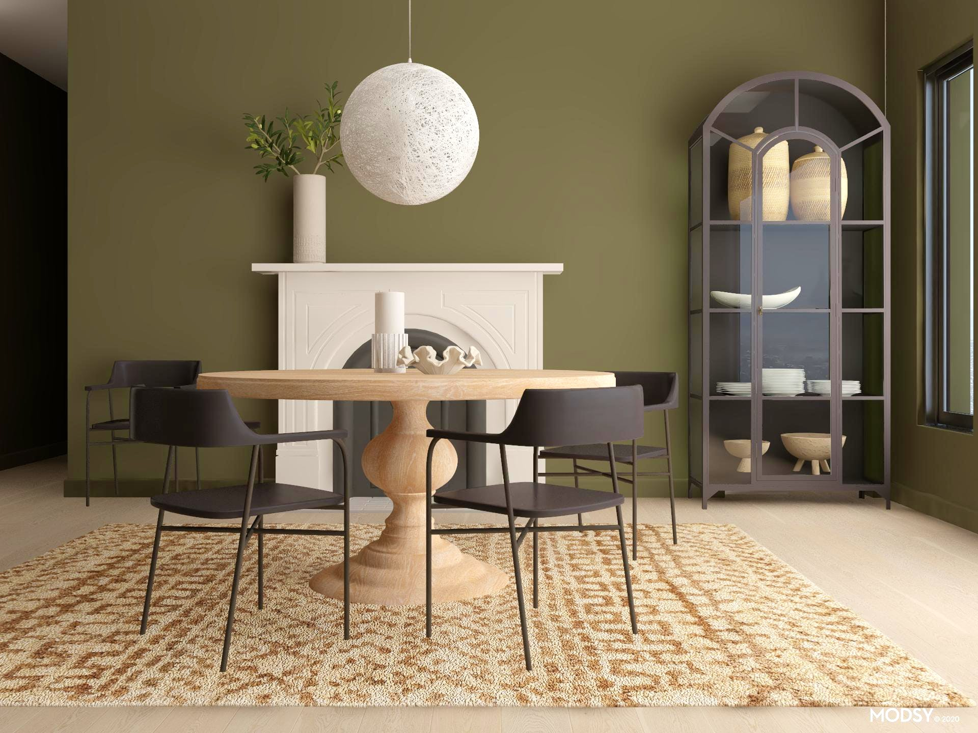Olive Green Organic Modern Dining Room