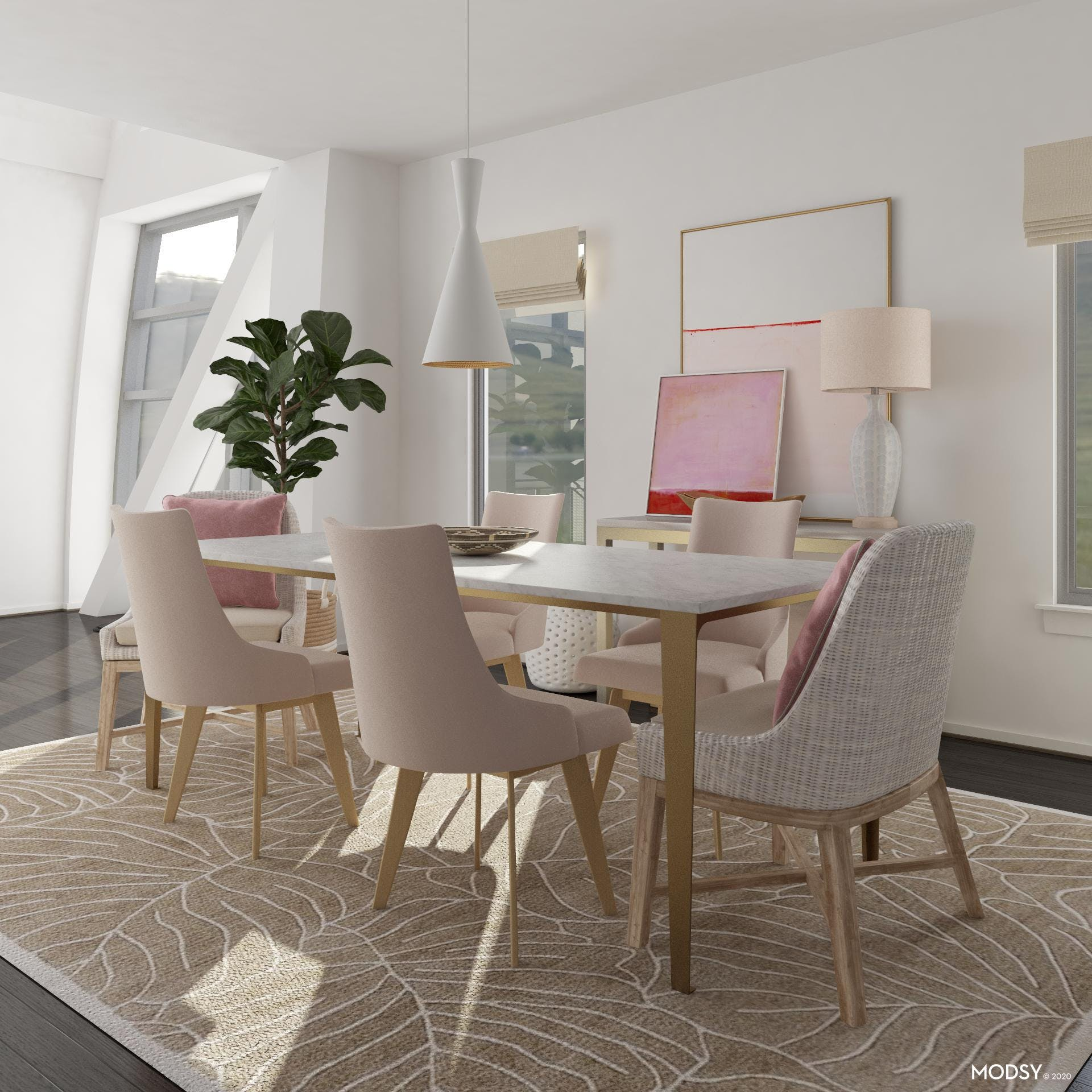 Modern Dining Room With A Pop Of Pink