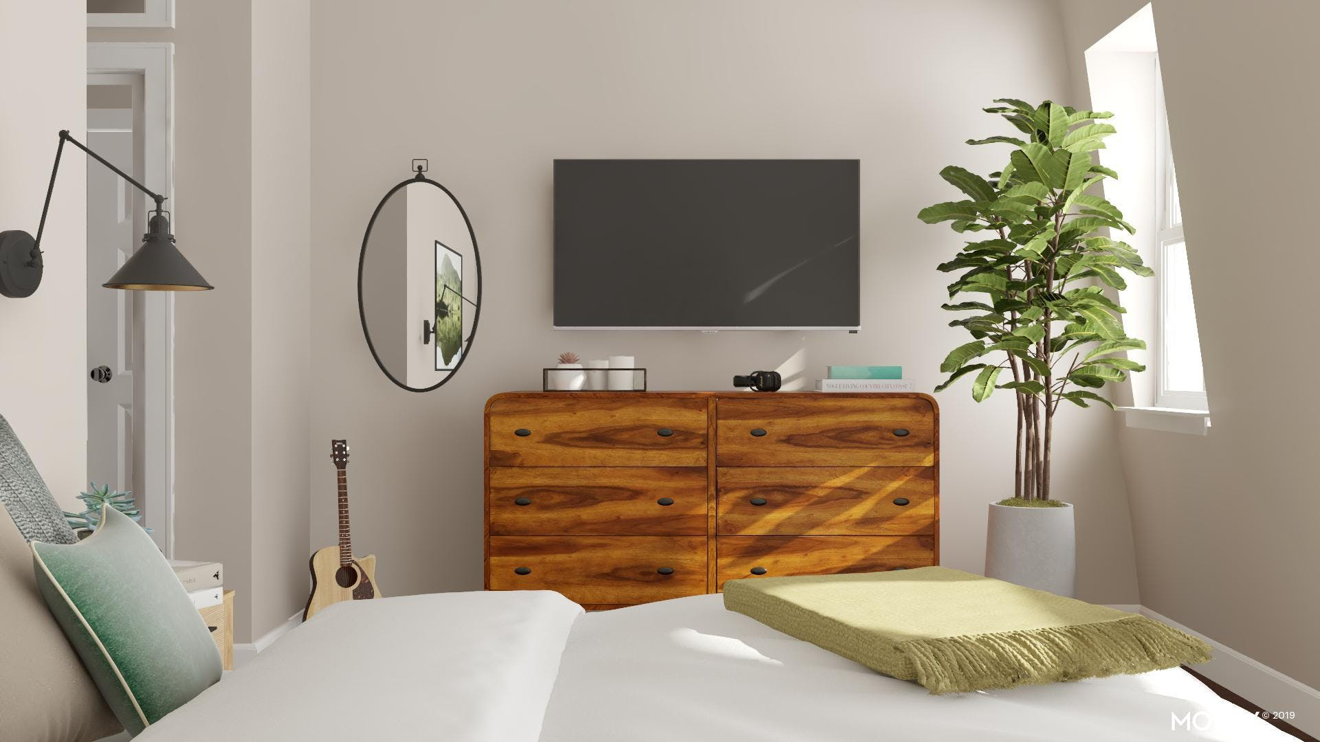 Modern Bedroom with Wood Details