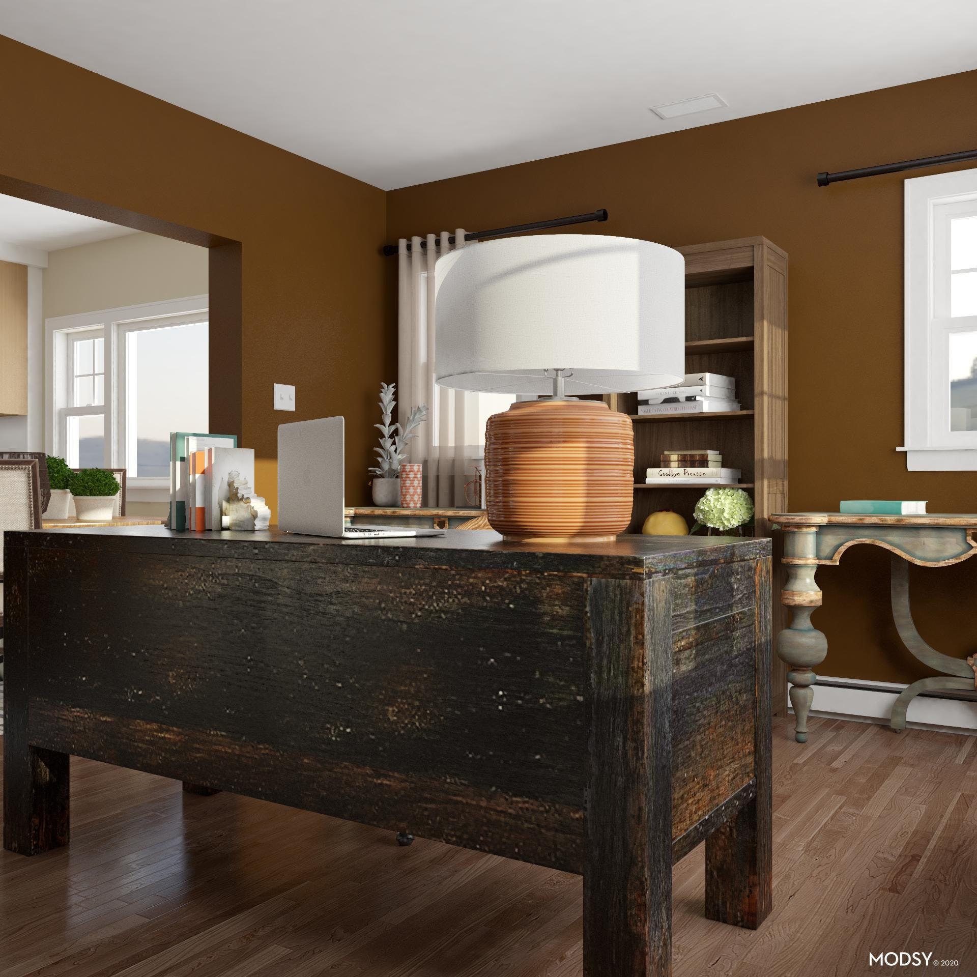 Traditional Office In Earth Tones
