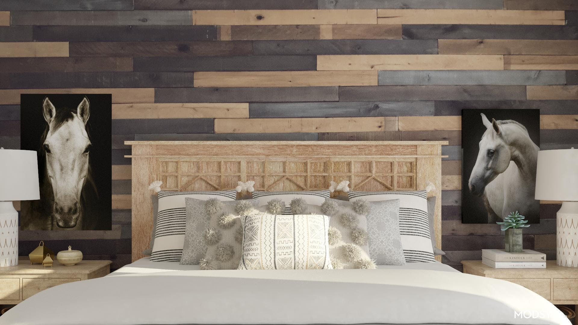 Neutral Bedroom with a Feature Wall