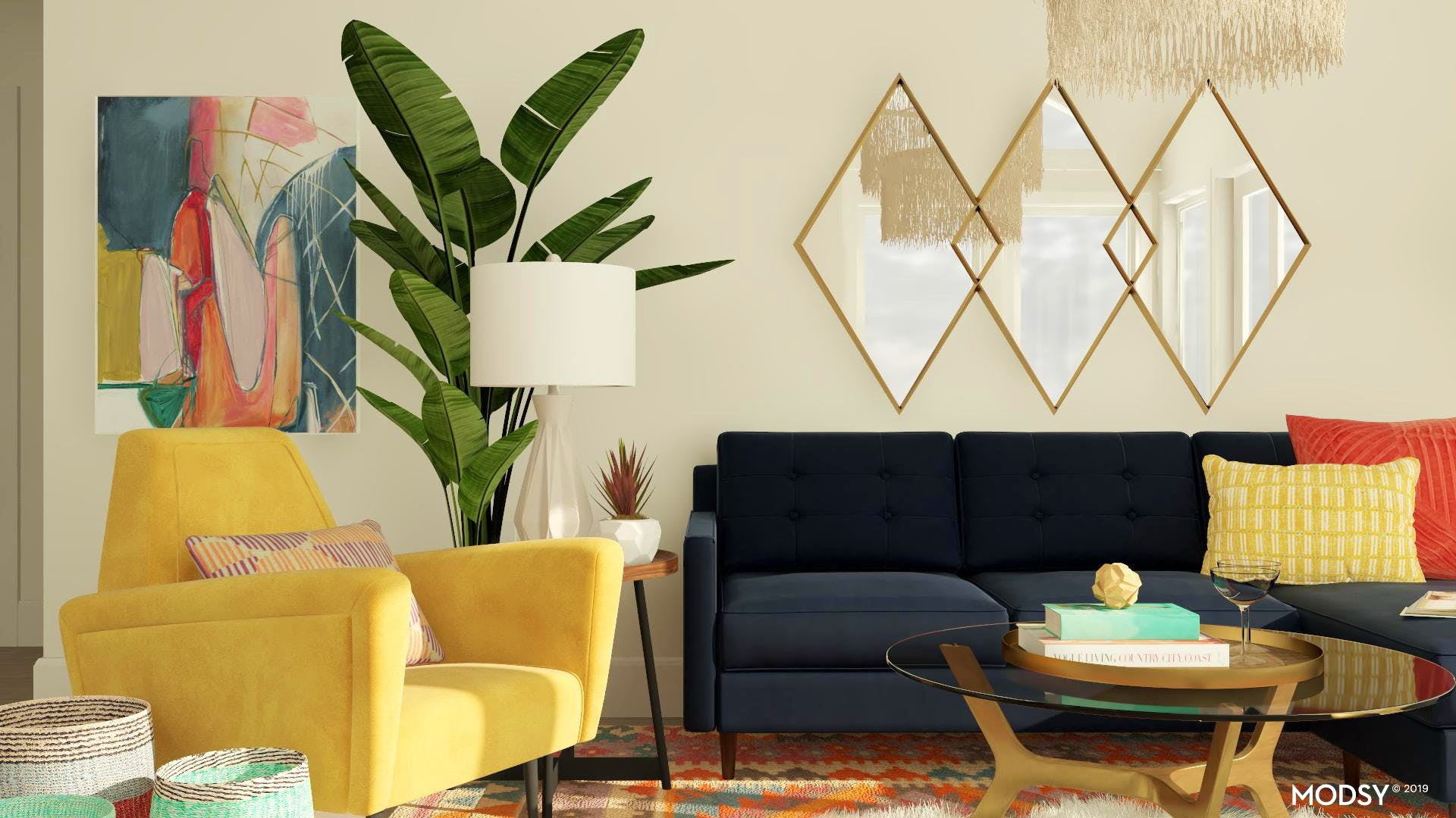 Bright Mid-Century Living Room Design