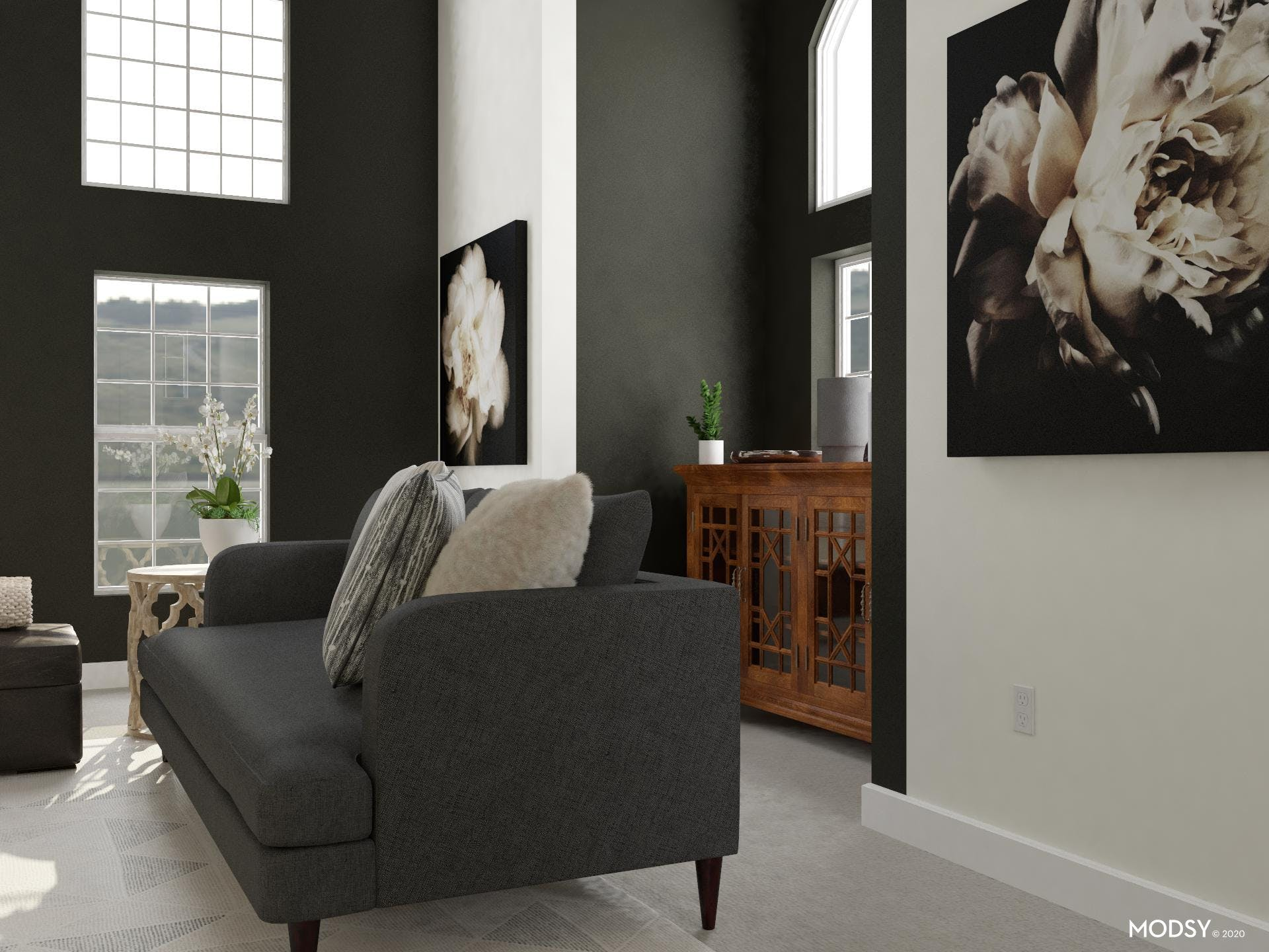 Transitional Living Room in Black and White