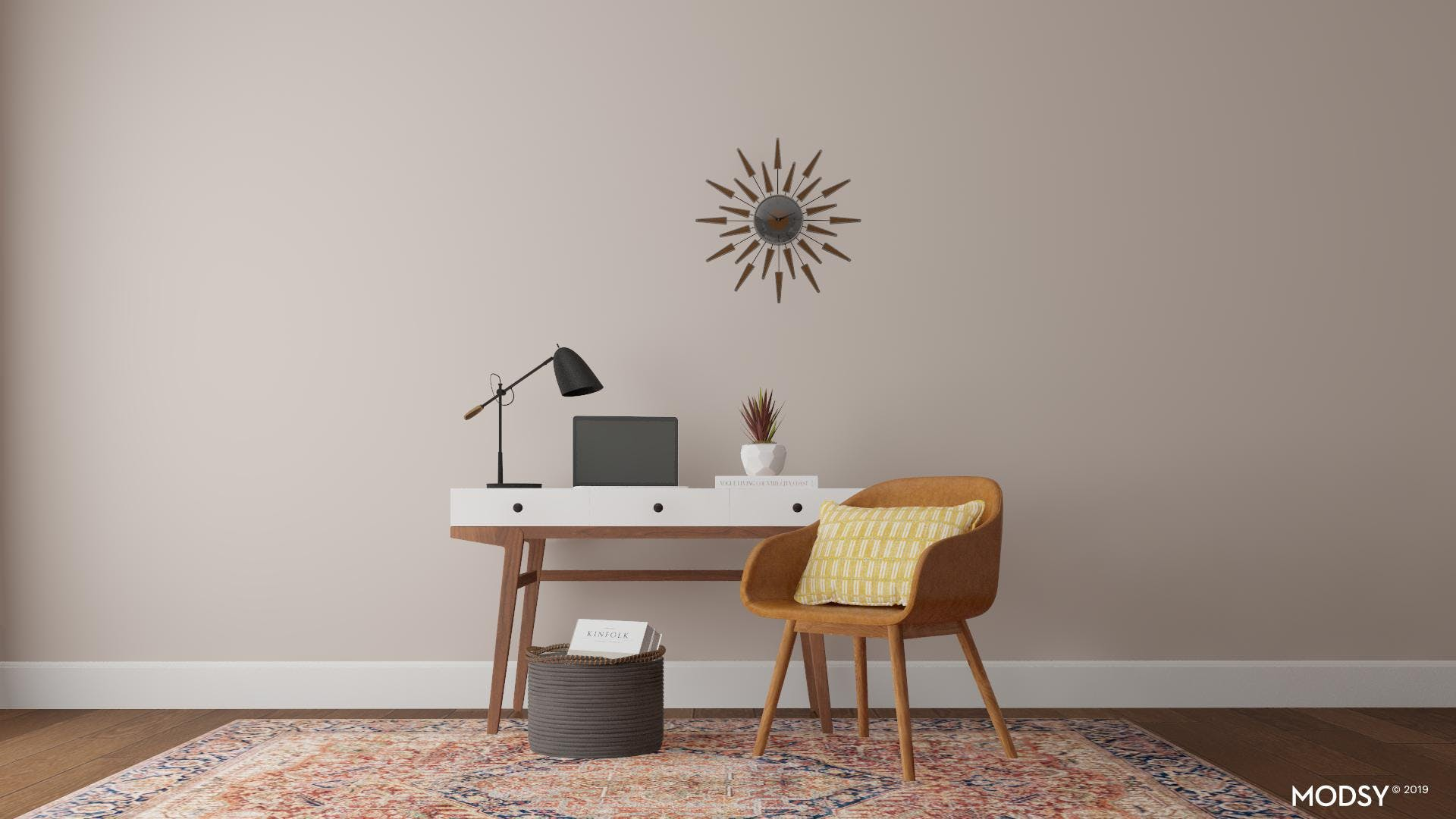 Mid-Century Office with a Traditional Twist