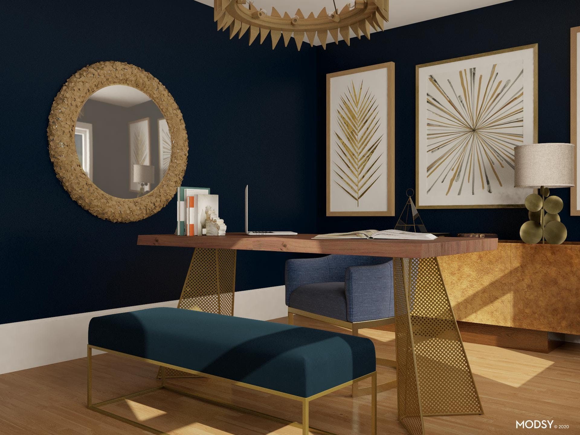 Glam Home Office, Sapphire and Gold Jewel tones