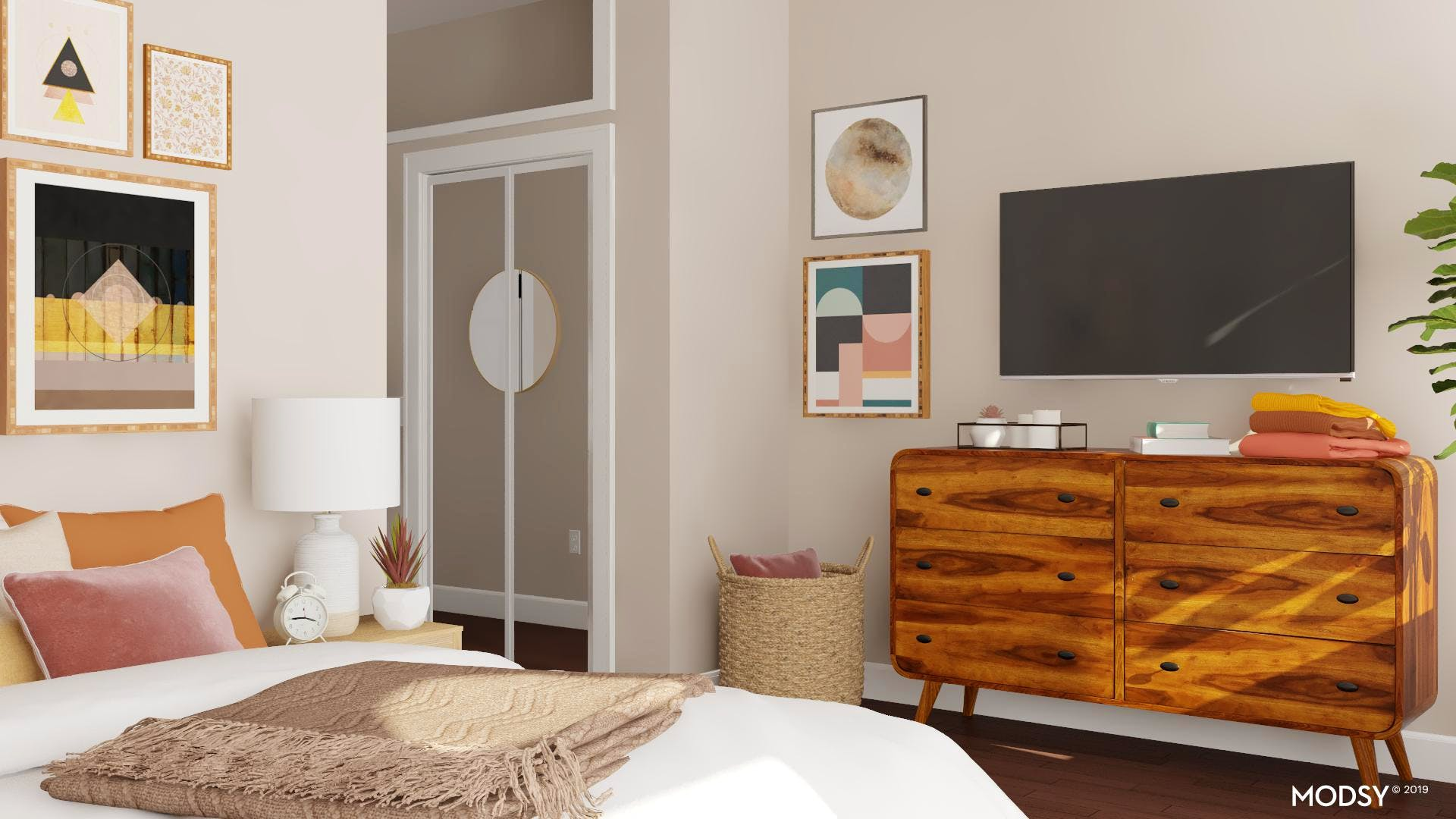 Earth-Toned Bedroom with TV Viewing