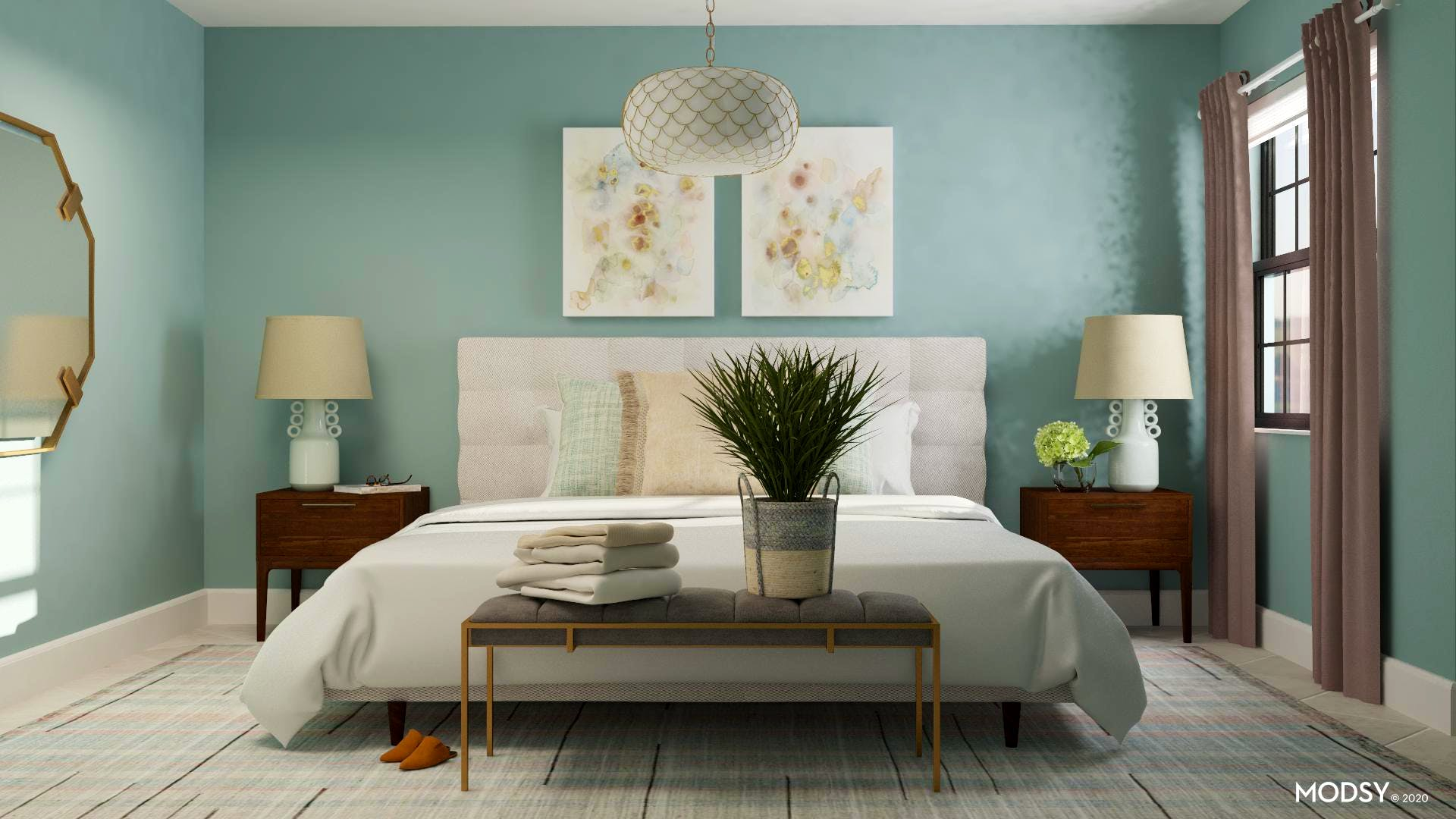 Bright Pastel Transitional Bedroom