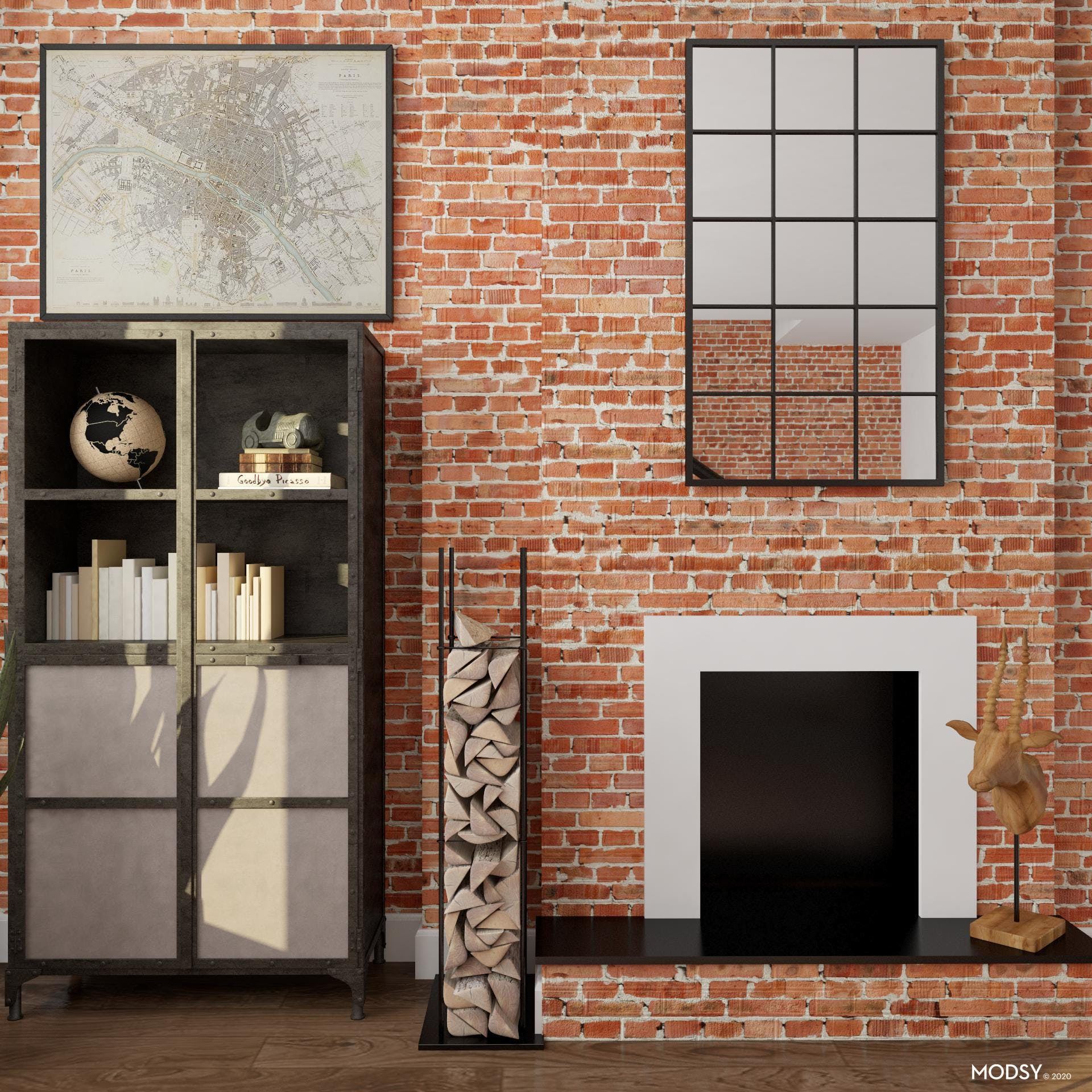 Bold Industrial Americana Inspired Living Room Bookcase